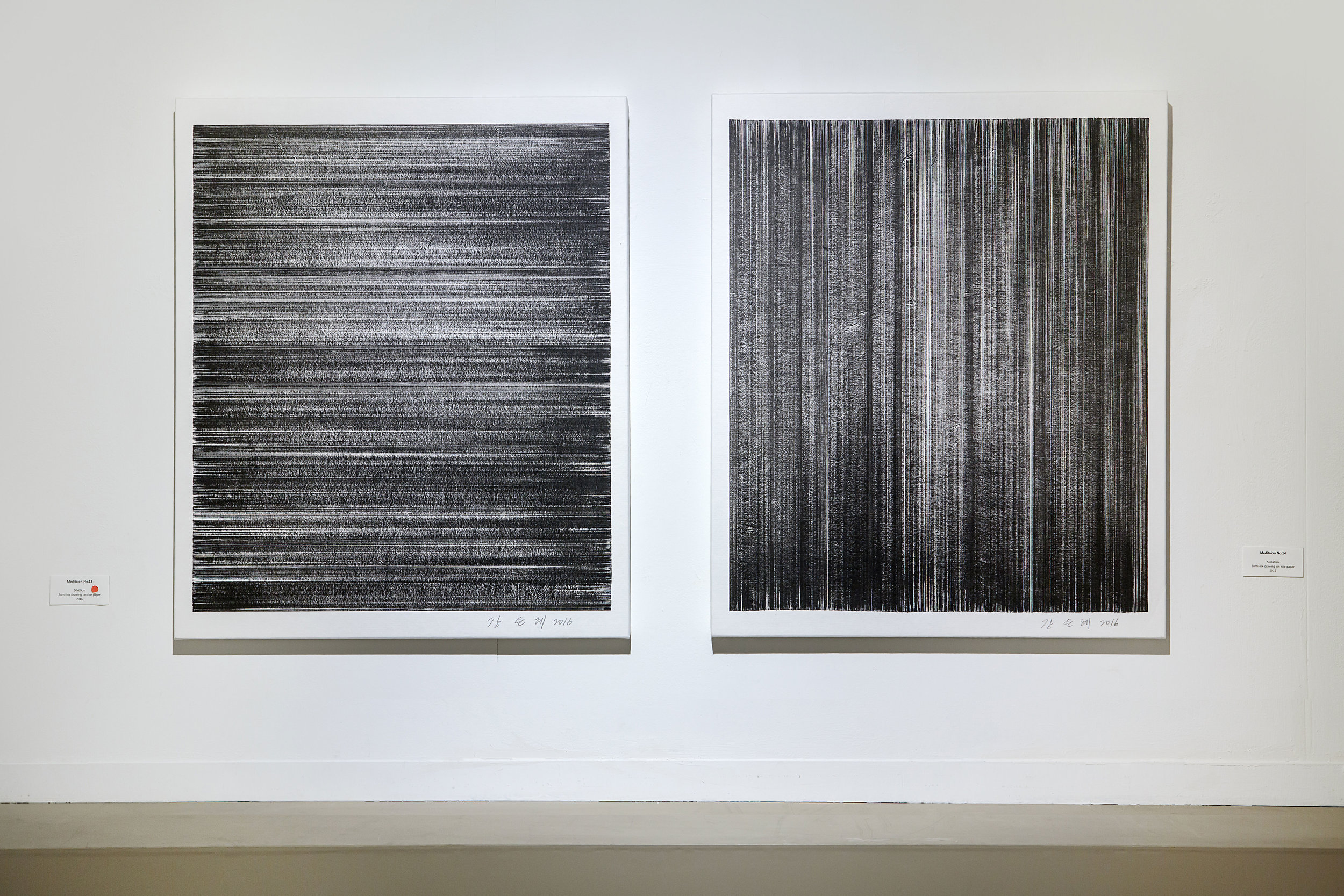 Meditation No.13, 14    Sumi-ink Drawing on Rice paper  50x60 (cm) each  2016