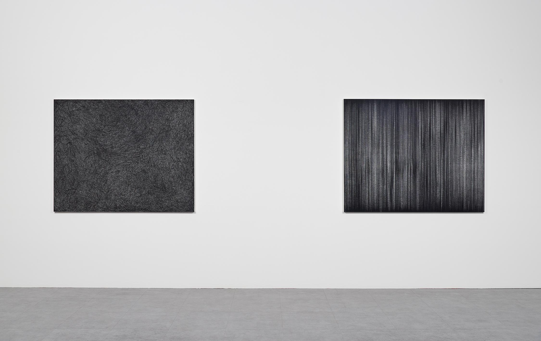 (Left) EunHye Kang | Fogginess | Sumi-ink Drawing on Rice Paper | 120x150(cm) | 2018  (Right) EunHye Kang | Stillness | Sumi-ink Drawing on Rice Paper | 120x150(cm) | 2018