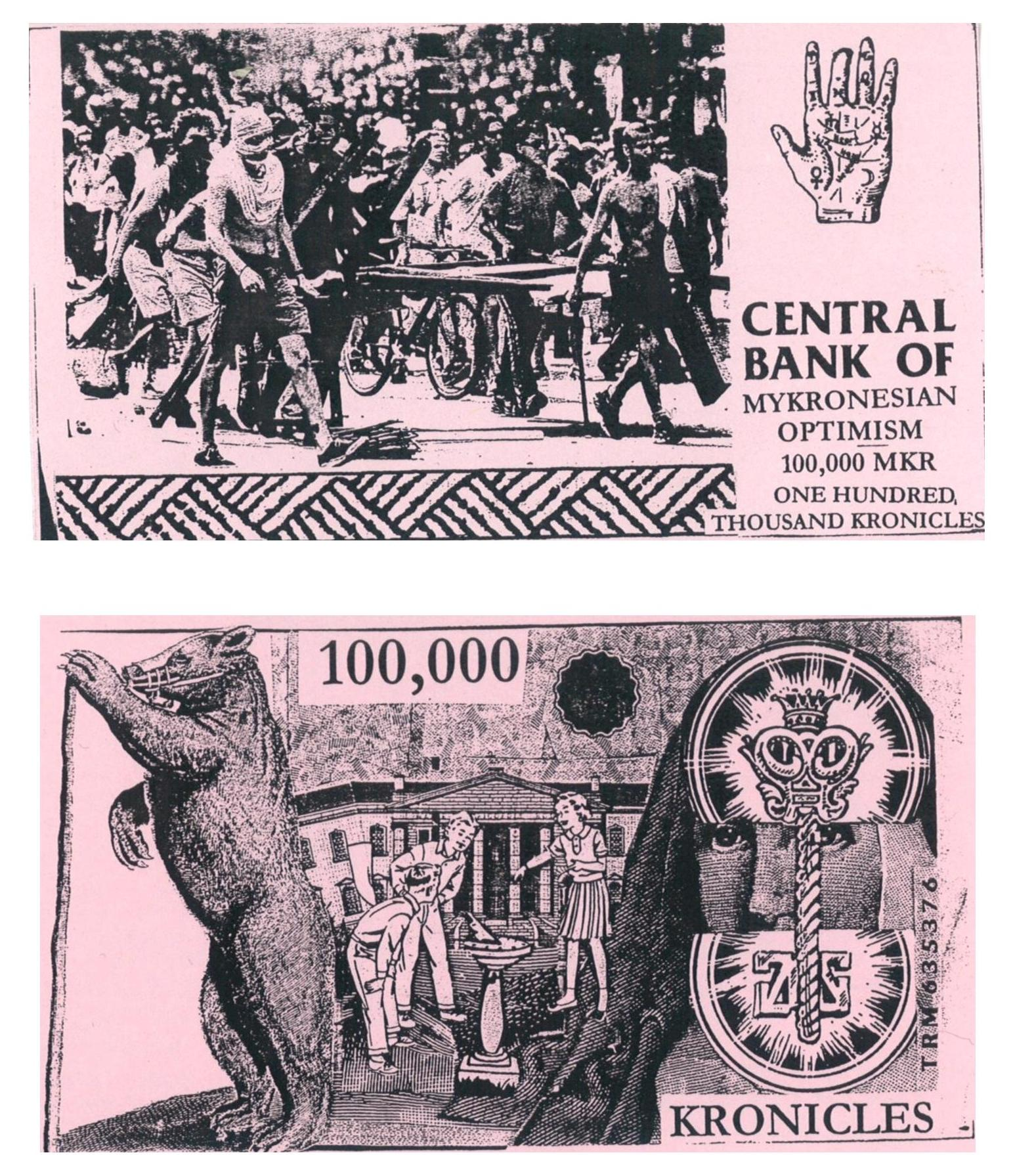 100,000 Kronicle Note, reverse and obverse