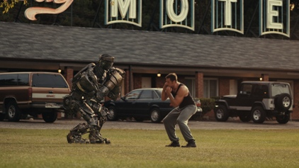 I assume this movie was filmed on location in Newington, CT given that beautiful Berlin Turnpike pay by the hour motel in the background. (photo from dreamworksstudios.com)