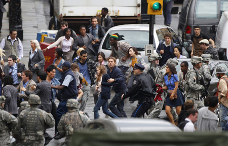 It is, however, realistic, we first hear about the zombie outbreak in Philadelphia. Although who would notice it? Boom! (photo from joblo.com)