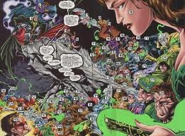 I pored over this page when I first saw it. I wanted to know every last character on it. (image from comicvine.com)
