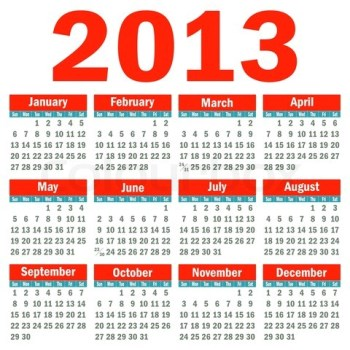 2013, I hardly knew ye. (image from 2013printablecalendar.net)