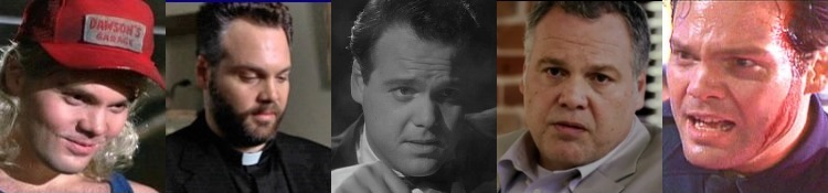 D'Onofrio in Adventures in Babysitting, The Dangerous Lives of Altar Boys, Ed Wood, Escape Plan, and Strange Days (l to r)