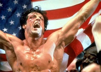 """Rocky has the most American of reactions to his victory here: """"I solved the problem! Don't worry, it was easy. The Cold War is not at all complex!""""(photo from popculture101.com)"""