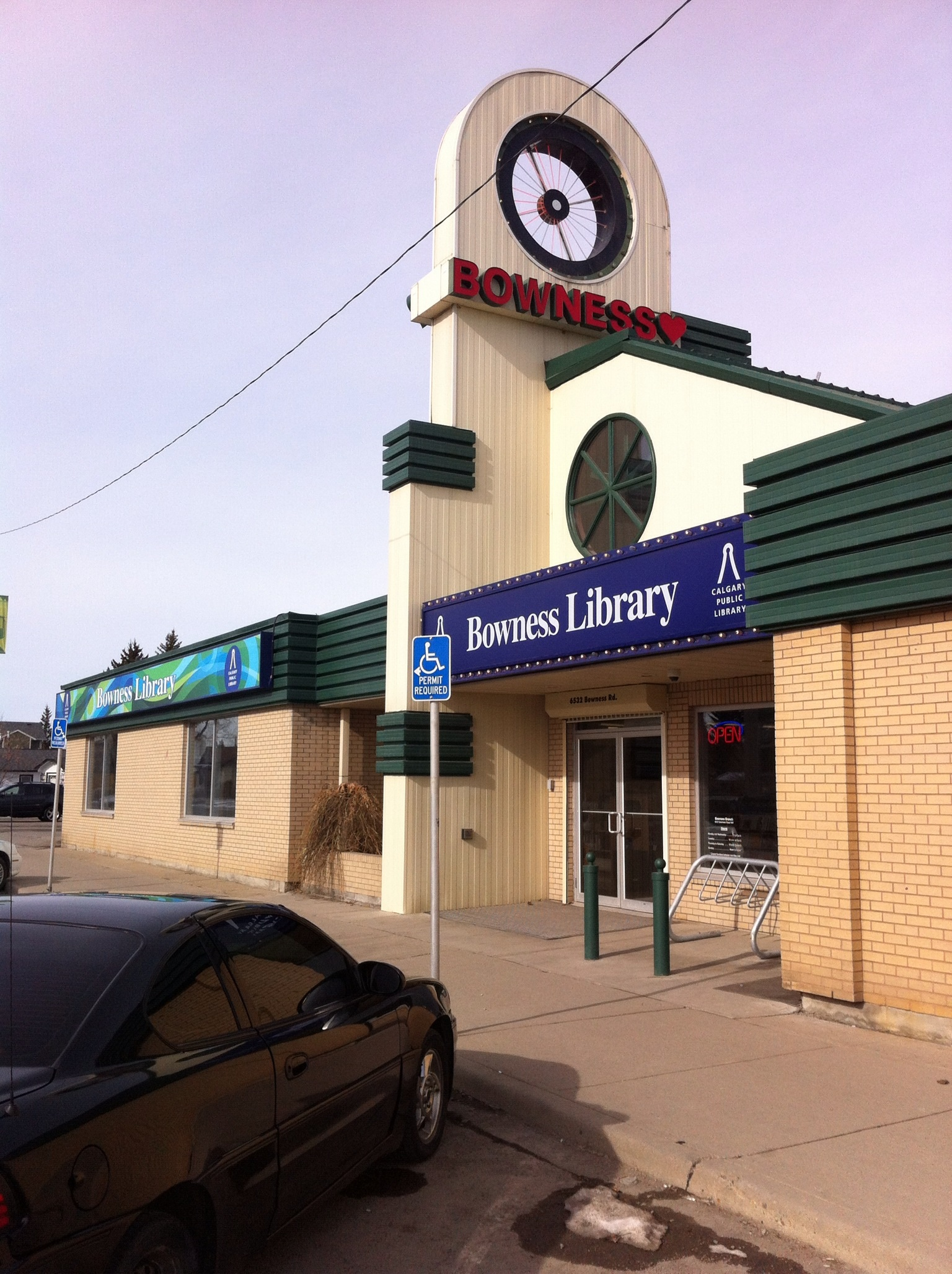 Bowness Library located in former motor cycle, ATV shop on Main Street.