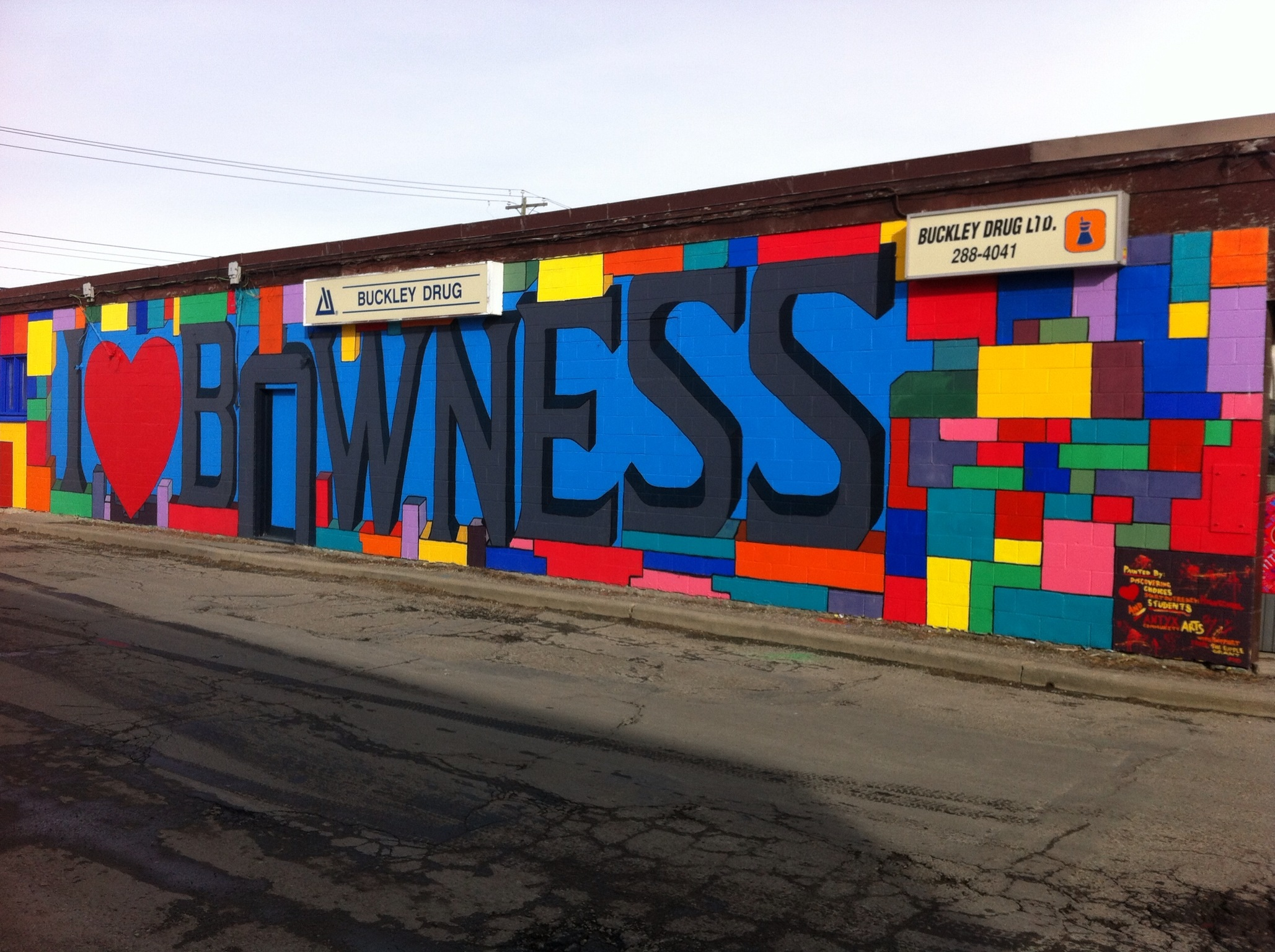 I Love Bowness mural. Community pride project by youth.