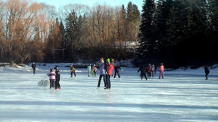 Bowness Park's lagoon becomes a large skating rink in the winter for people of all ages and skating abilities. in the summer, there are canoes and boats for rent.