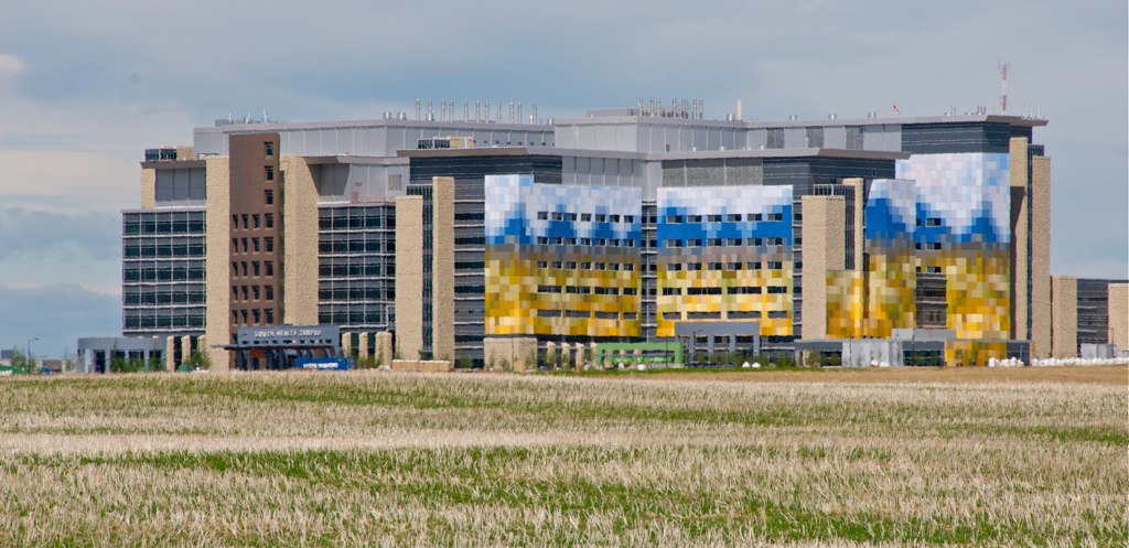 The South Health Campus (hospital) open recently on the southern edge of the city. It will become the hub for a master planned urban village.  It features an prairie mural as part of its design.  The architects for this project is the Calgary firm KASAIN, who also did the Children's Hospital