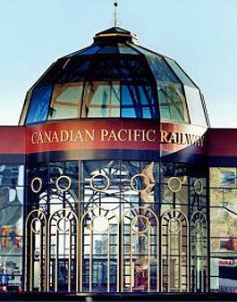 Glass Rotundra that links historic Fairmont Palliser Hotel to vintage train shed in downtown Calgary.