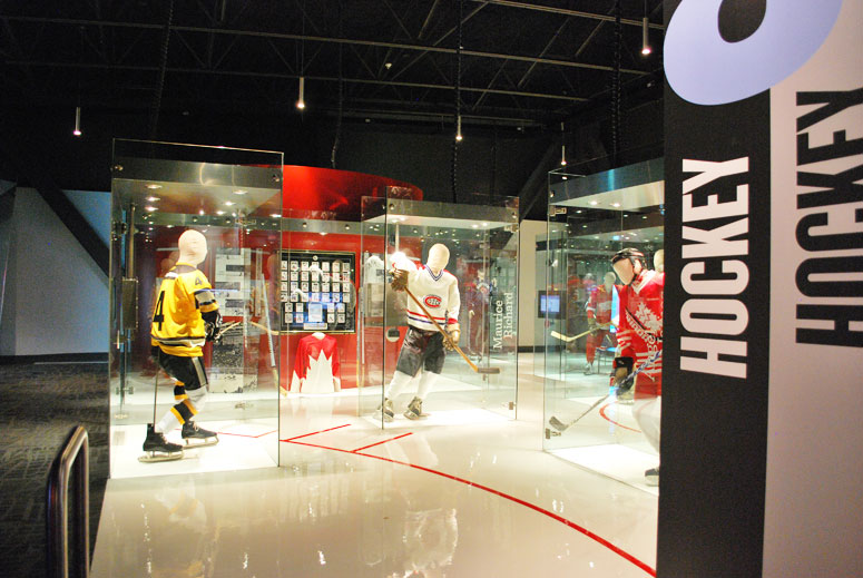 The Sports Hall of Fame located at Canada Olympic Park has an incredibly diverse collection of artifacts from hockey to rowing, from figure skating to lacrosse.  There are many hands-on activities and a captivating movies about Canada's sports history.  (photo courtesy of Canadian Sports Hall of Fame)