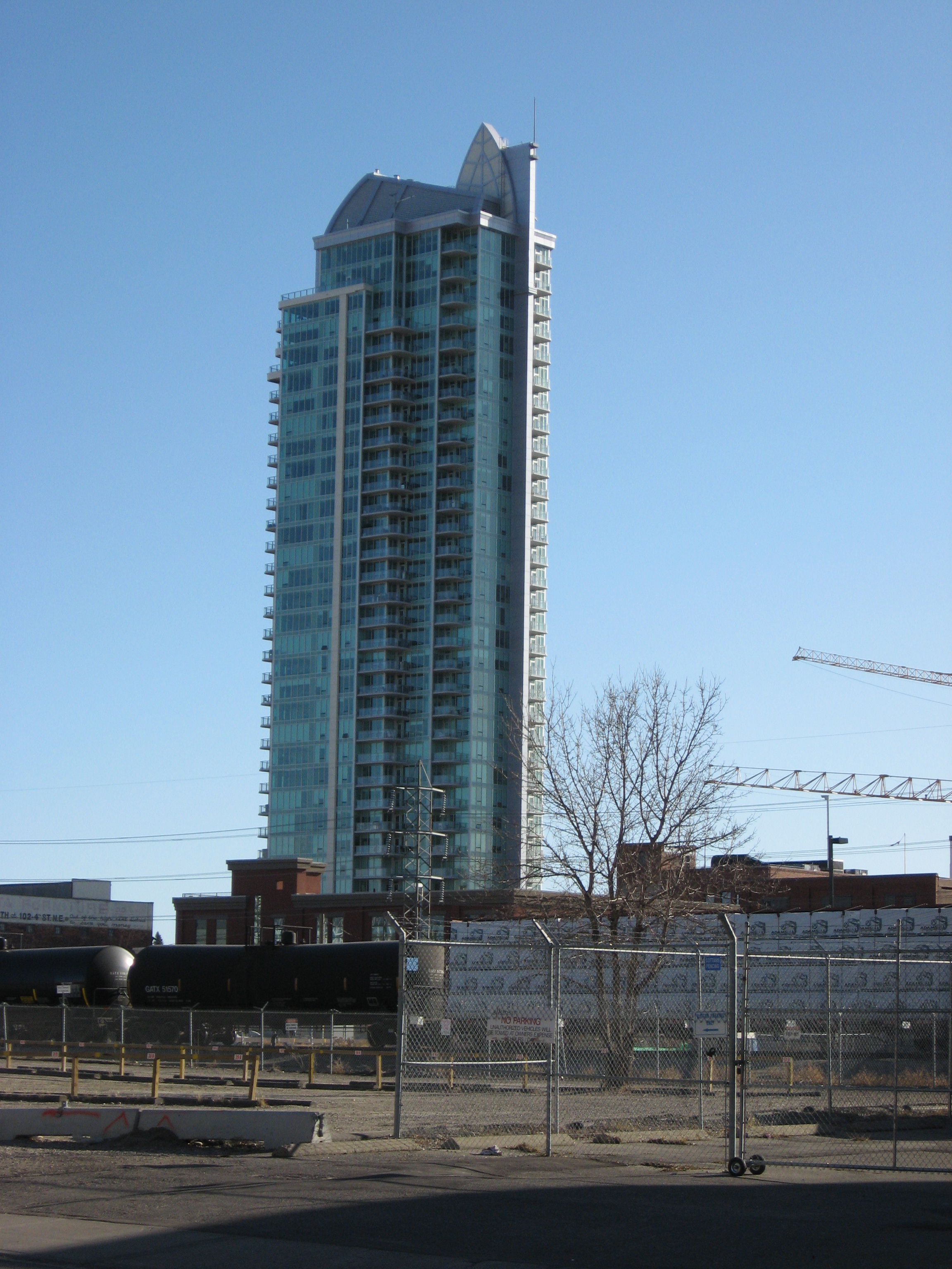 This is an older photo of the Arriva condo which was the first condo to be built in Victoria Park one of Calgary's oldest communities.  It was designed by local architects BKDI and was suppose to have 3 towers but went bankrupt.  However, it has been bought out of receivership and a new tower is planned next to it, however, it won't be a sister design.