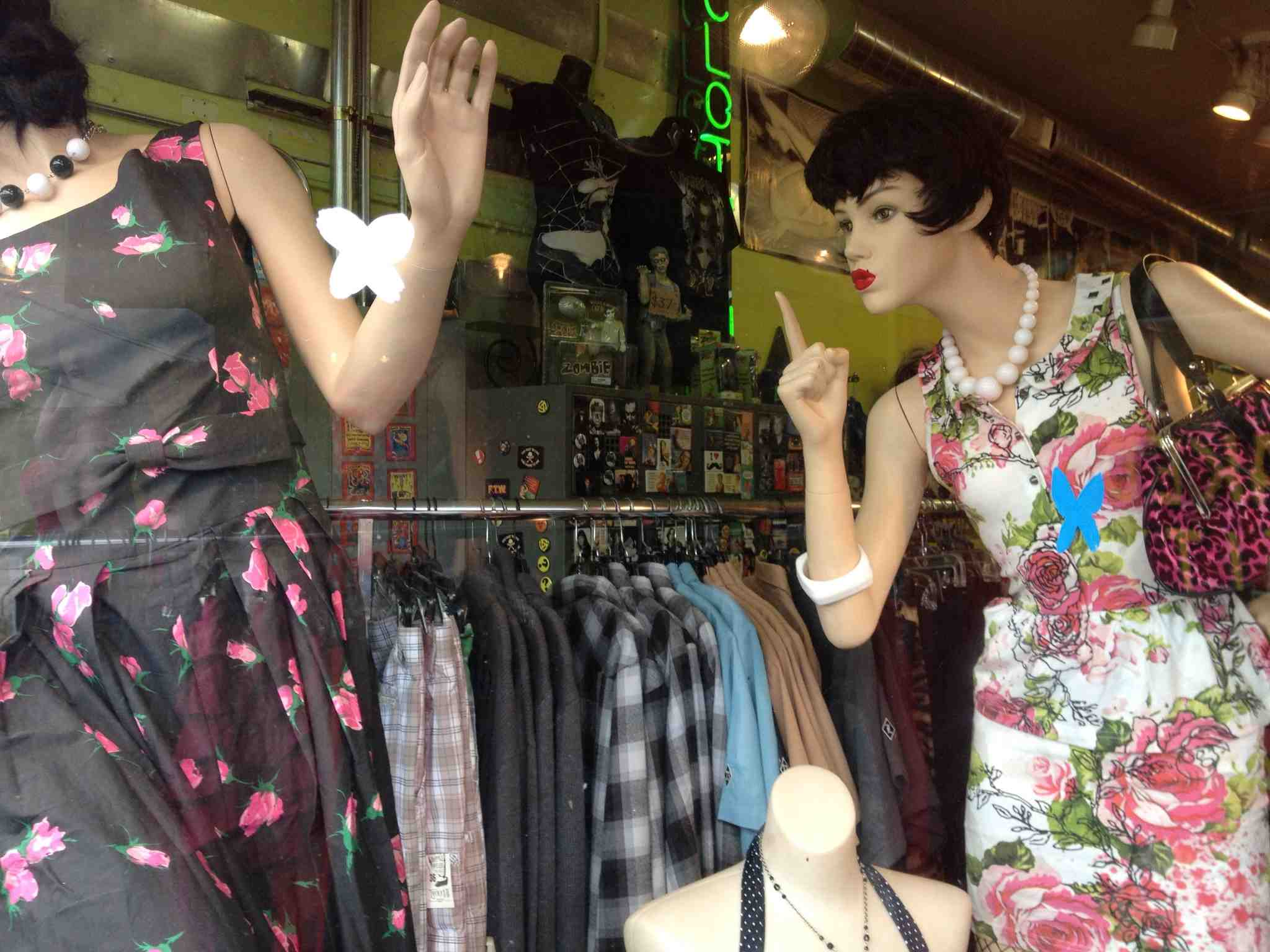 Hawthorne Blvd is the mecca for vintage clothes shopping.  Some have great animated windows like this one.