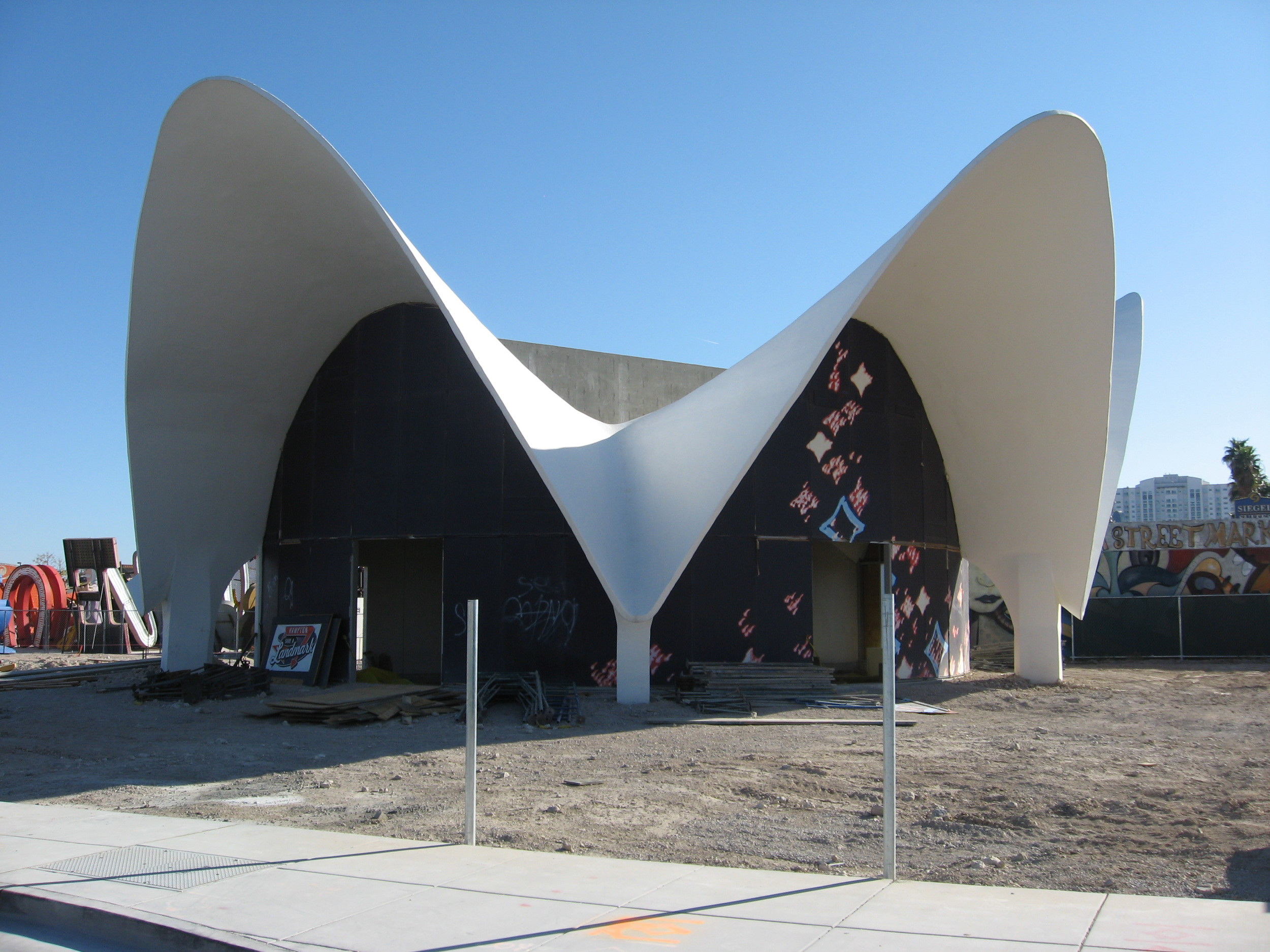 The Boneyard entrance is a wonderful mid-century modern building that is very inviting and memorable.
