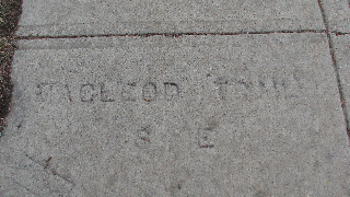 This Macleod Trail stamp in Ramsay dates from the time when Macleod Trail followed the road that became Spiller Road.