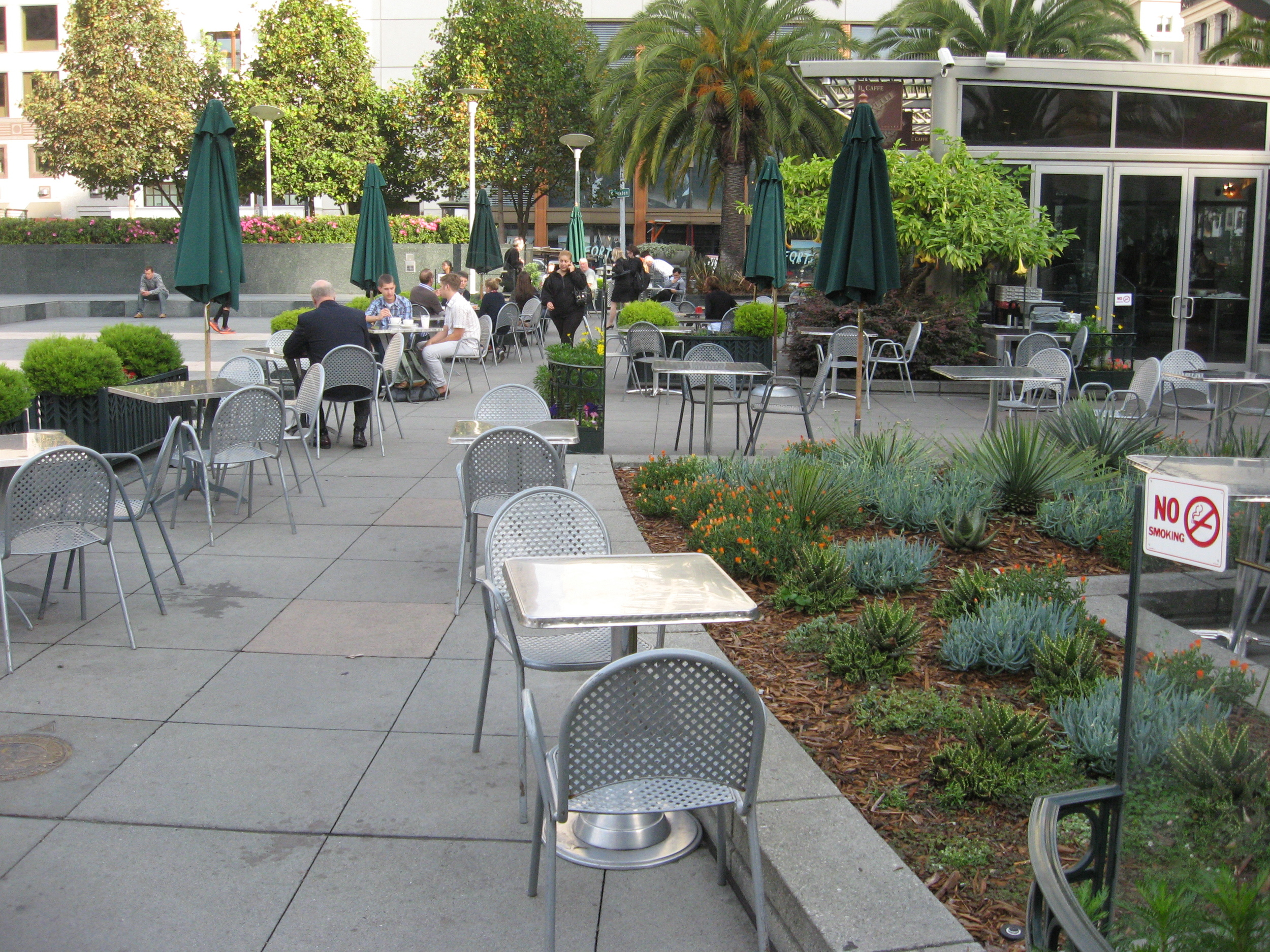 Outdoor patio on Union Square in San Francisco is warm and inviting.