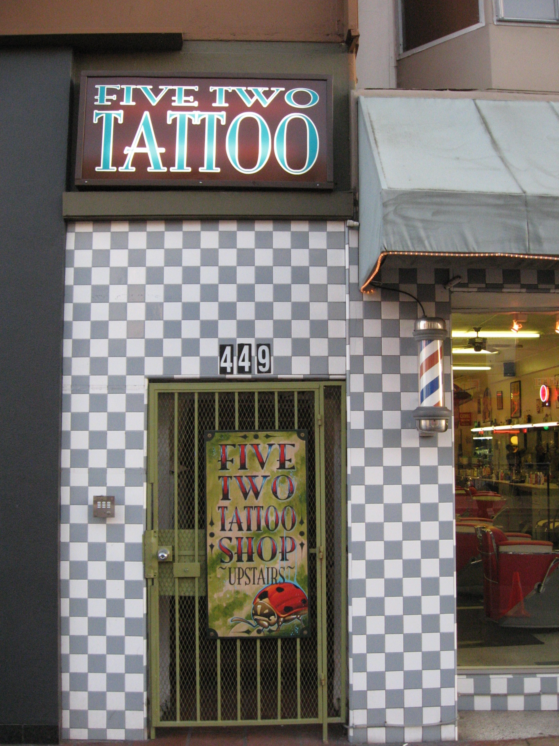 Tattoo Parlour in San Diego. We often find that tattoo parlours have some of the funkiest store fronts.