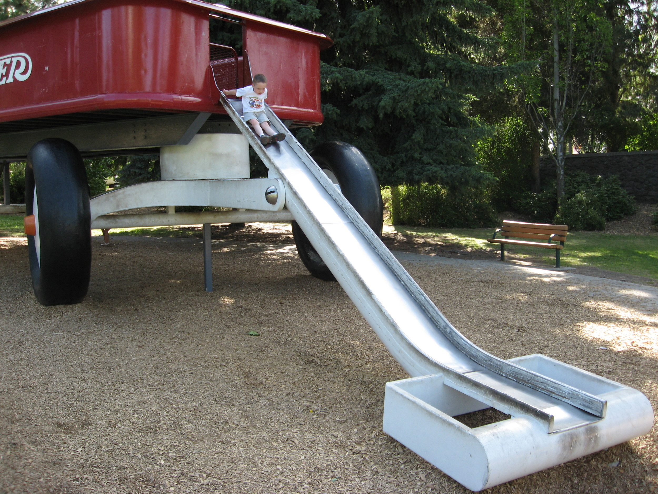 The world's largest red wagon becomes a playground slide.