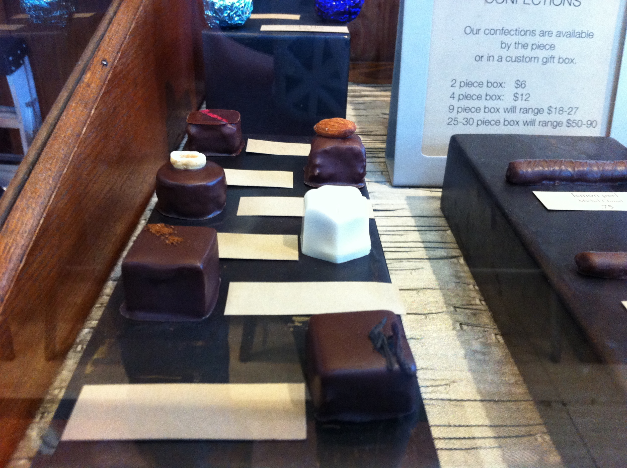One of the display cases of chocolates at Cacao!