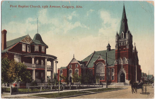 This is an early postcard of the First Baptist Church and an early 20th century mansion on 13th Ave. SW.