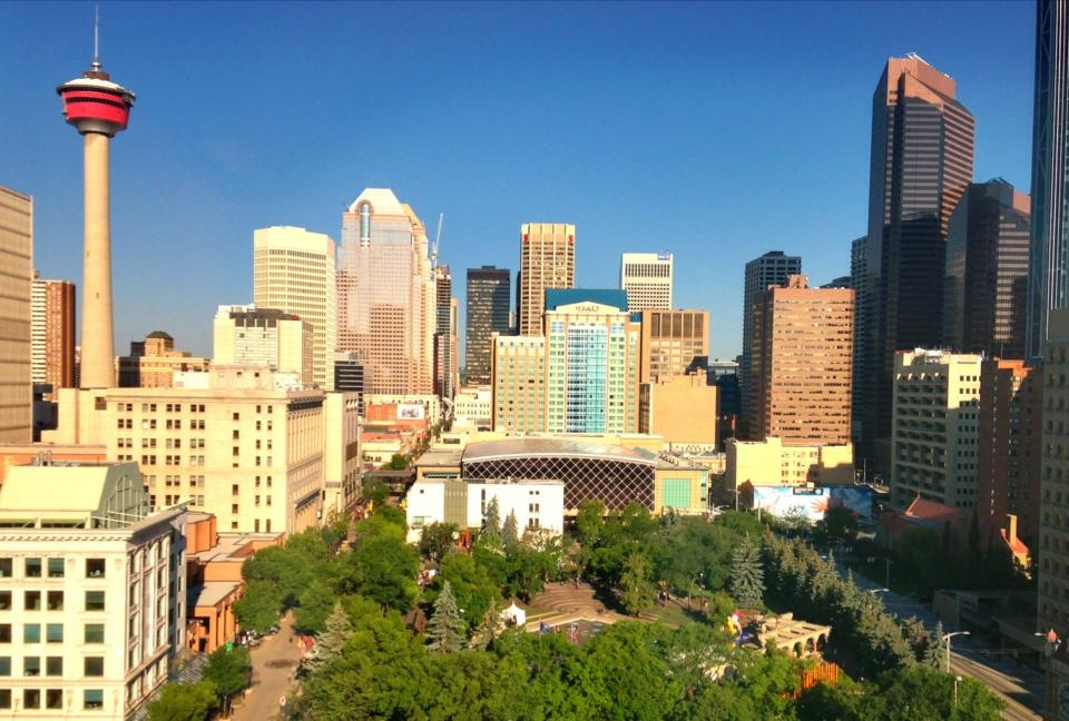 While this photo is older it captures the tremendous growth of Calgary as one of North America's economic engines with one of the greatest concentrations of corporate headquarters in the world.  It also captures the city's beauty, its parks, trees and beautiful blue sky.  Calgary has come a long way from a being bald-ass prairie land.