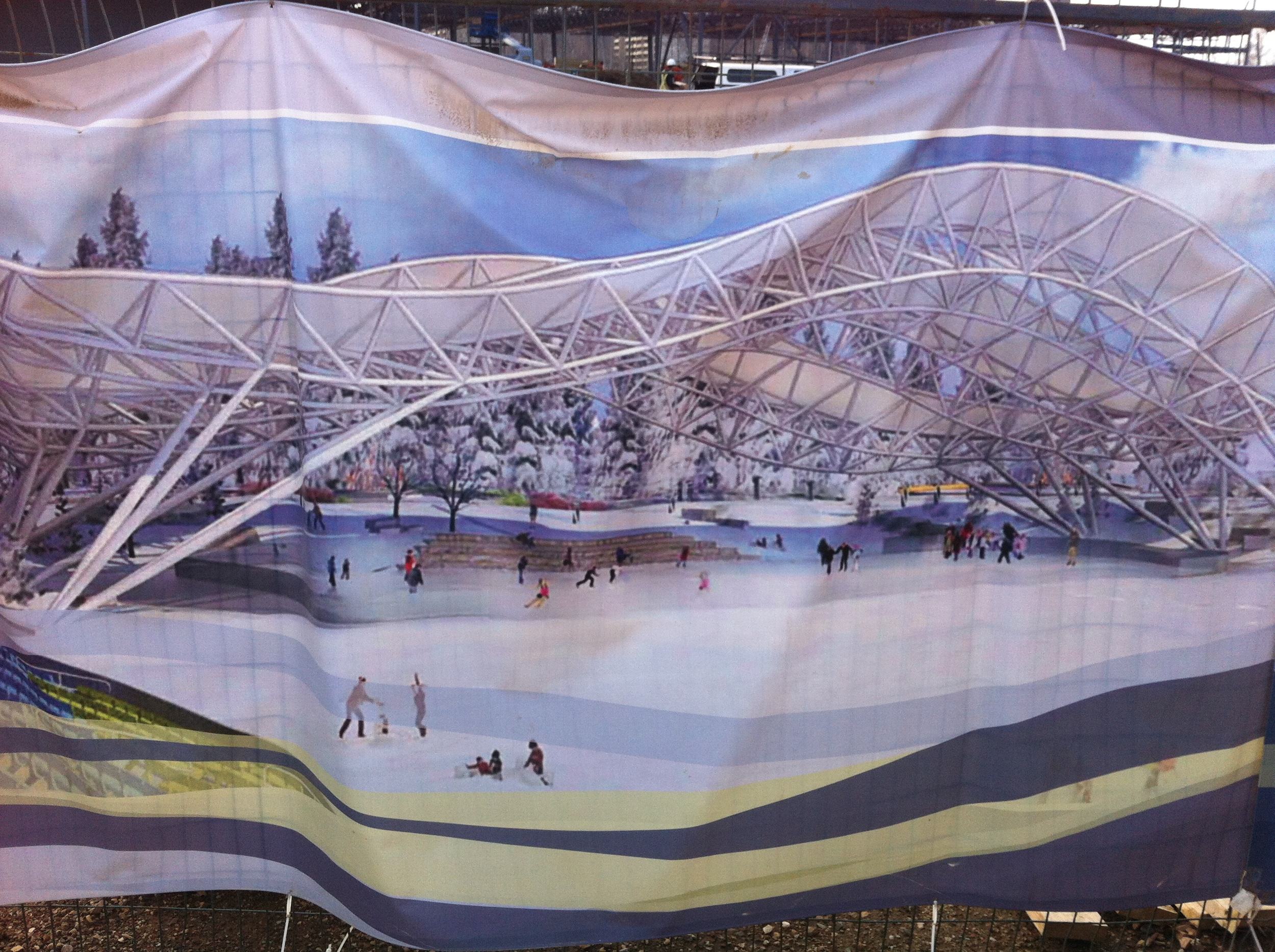 This is an artist rendering of the Molson Outdoor Rink on the construction fence. This beats anything Calgary, Vancouver or Edmonton has. Things are happening!