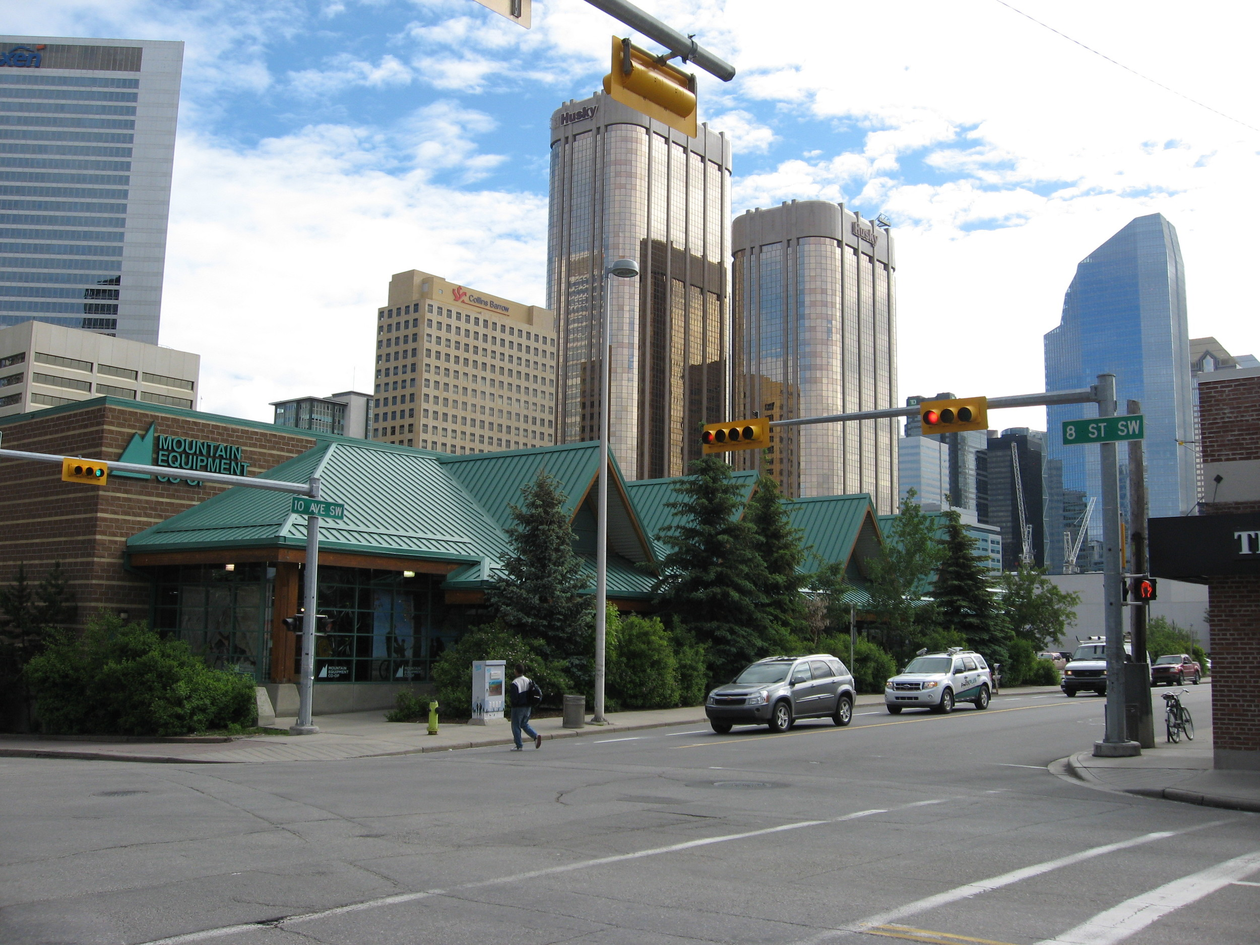 Just to the north of the Beltline is Calgary's downtown core with over 40 million square feet of office space. It has one of the highest concentrations of corporate headquarters in North America. It is where the GABEsters work. The building in the foreground is the MEC (Mountain Equipment Co-op) which anhcors the Gear District as there are several sporting goods and bike shops in the area.
