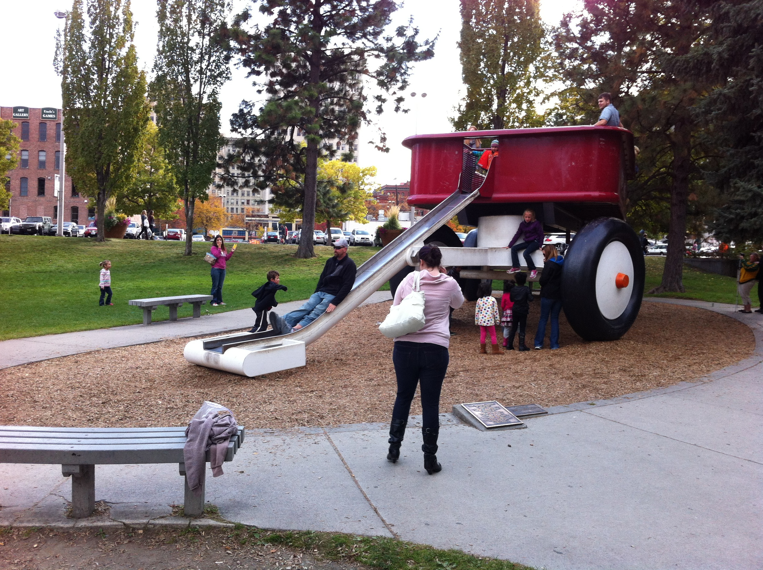 Every downtown needs a big red wagon or the equivalent in one of their urban parks!