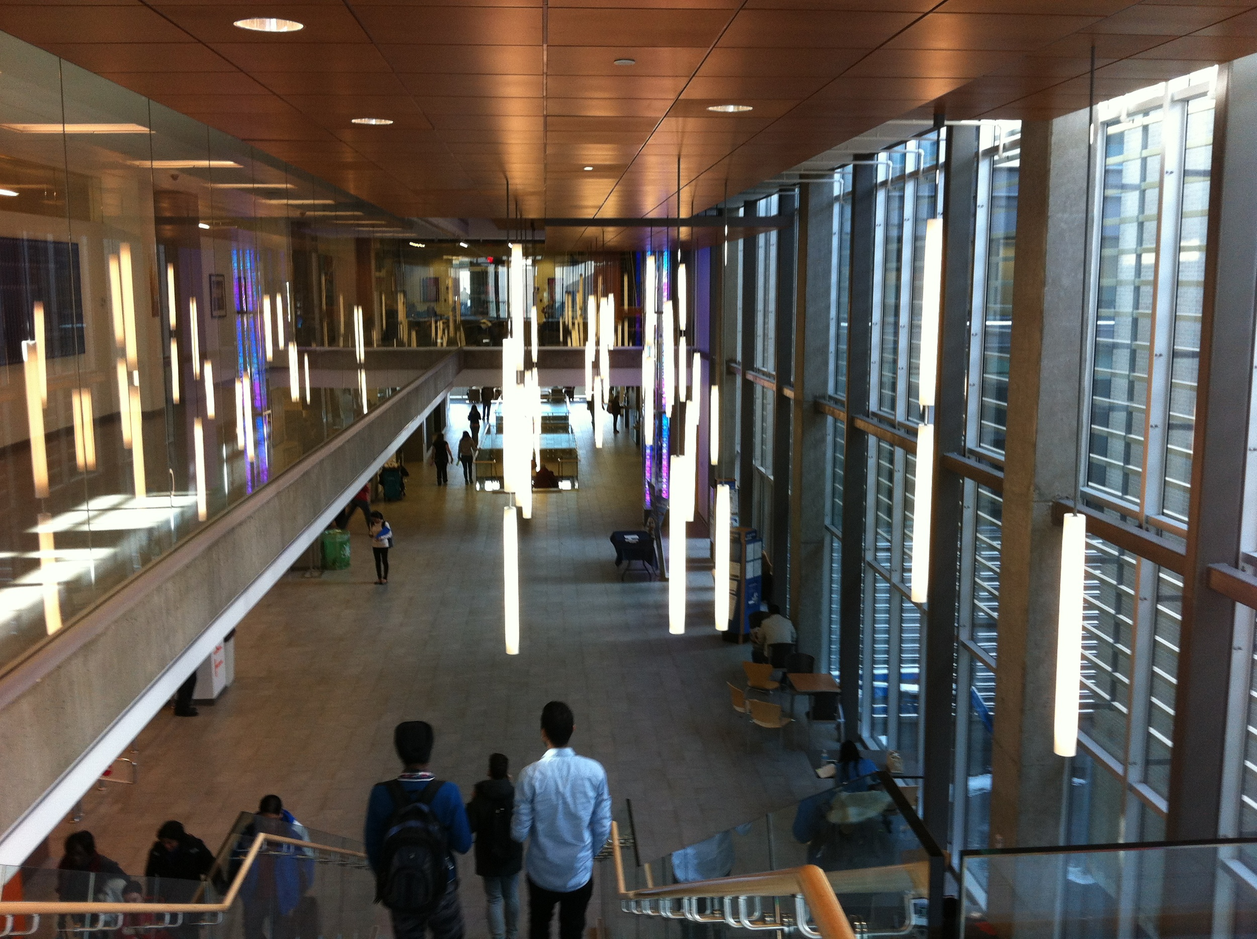 This is grand hall of the South Campus building which is a bee-hive of activity and serves as a wonderful public art gallery.