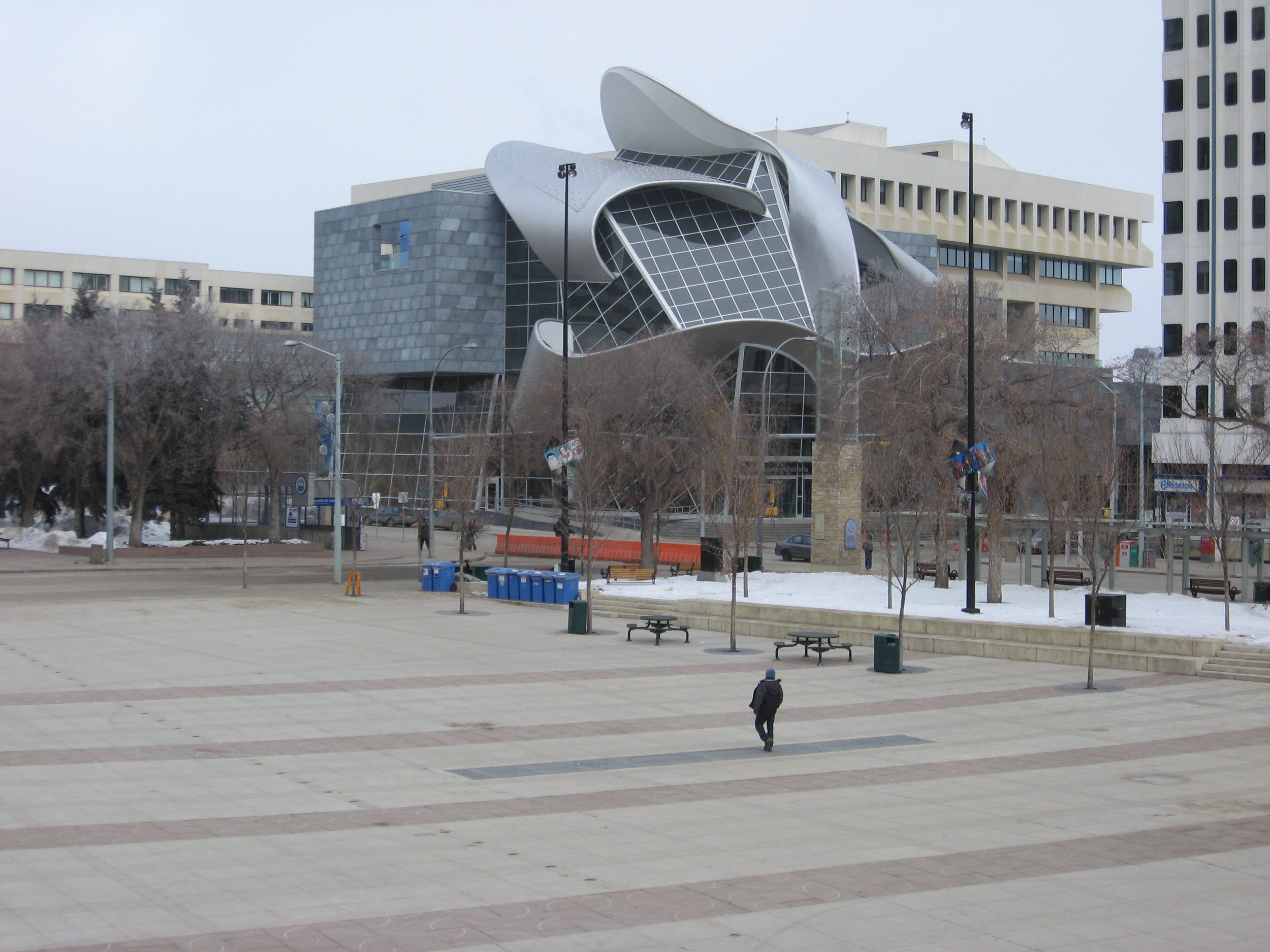 Edmonton's Art Gallery of Alberta and Churchill Square in February.