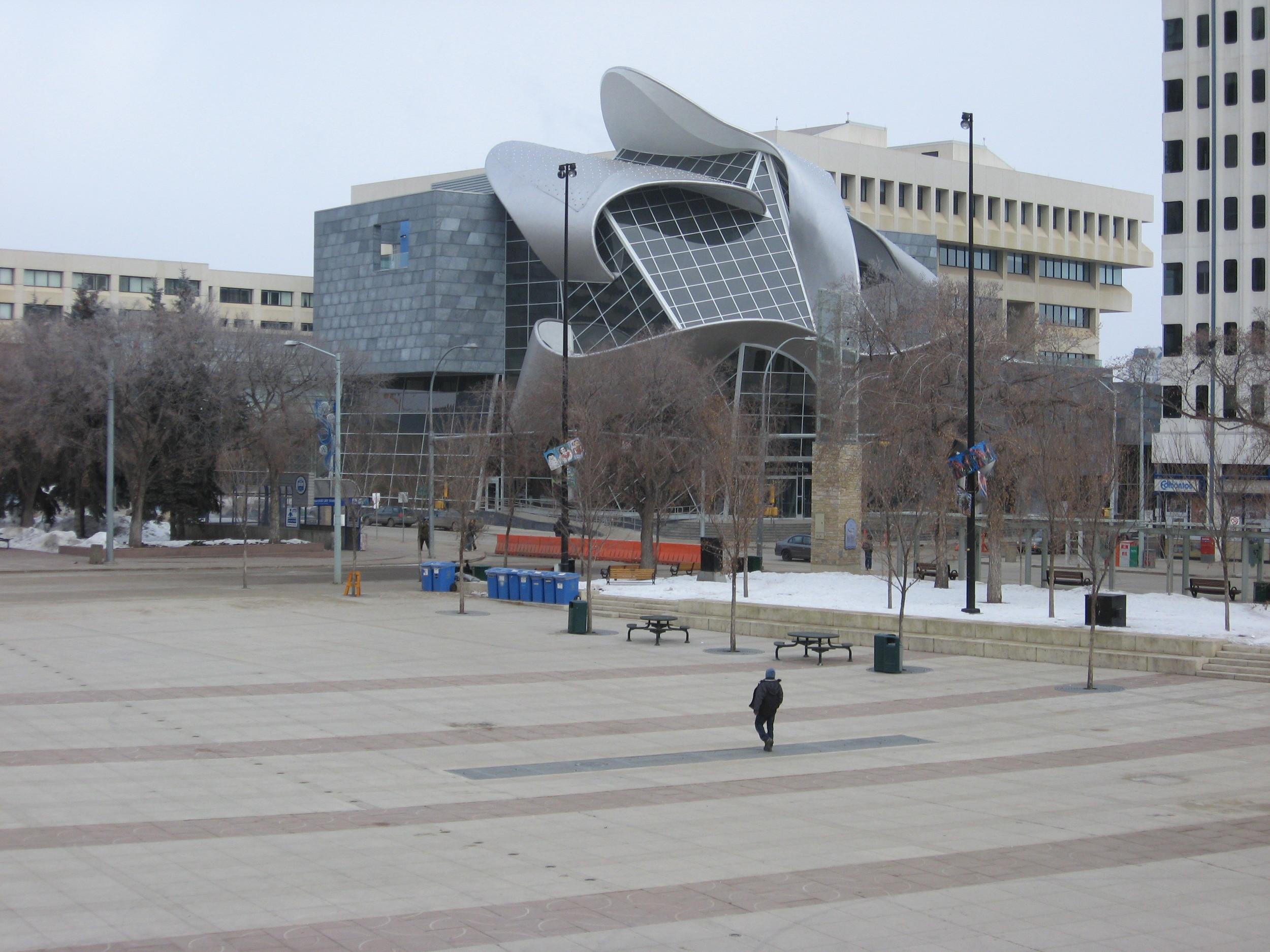 Edmonton's Art Gallery of Alberta and Churchill Square in February.