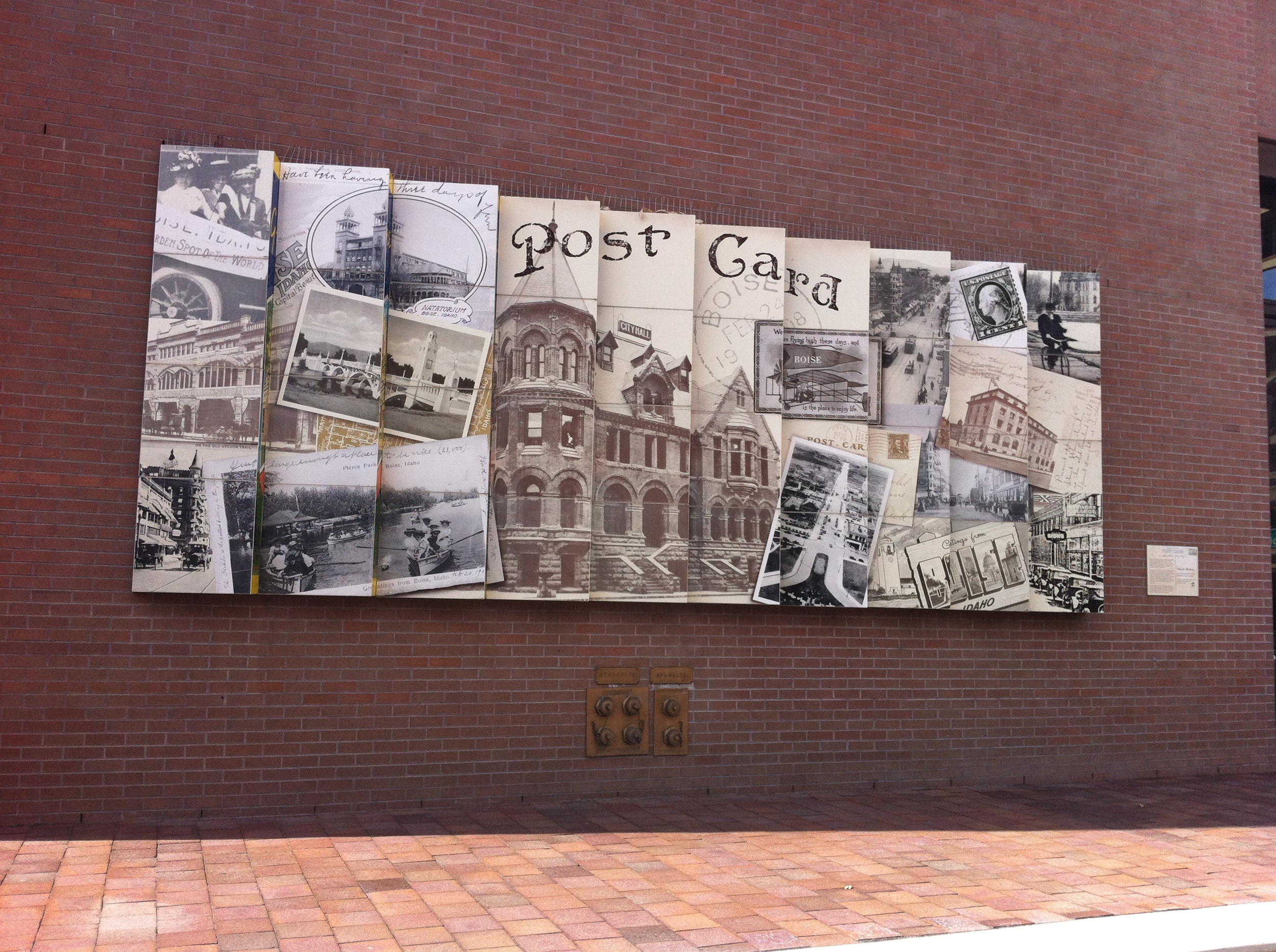 """Mark Baltes mural """"PennyPost Card"""" captures the history of downtown Boise with a bit of contemporary interpretation with its collage of images from old postcards."""