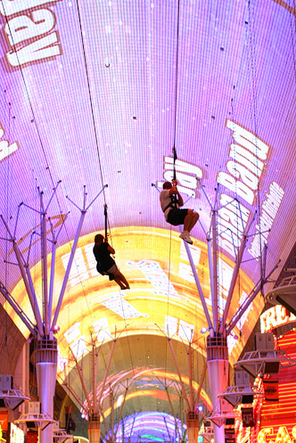 Freemont Street in old downtown Vegas has a zip line under the white canopy that covers the street for several blocks. The canopy is used in the evening for a spectacular light show that is set to music. Now that FUN!