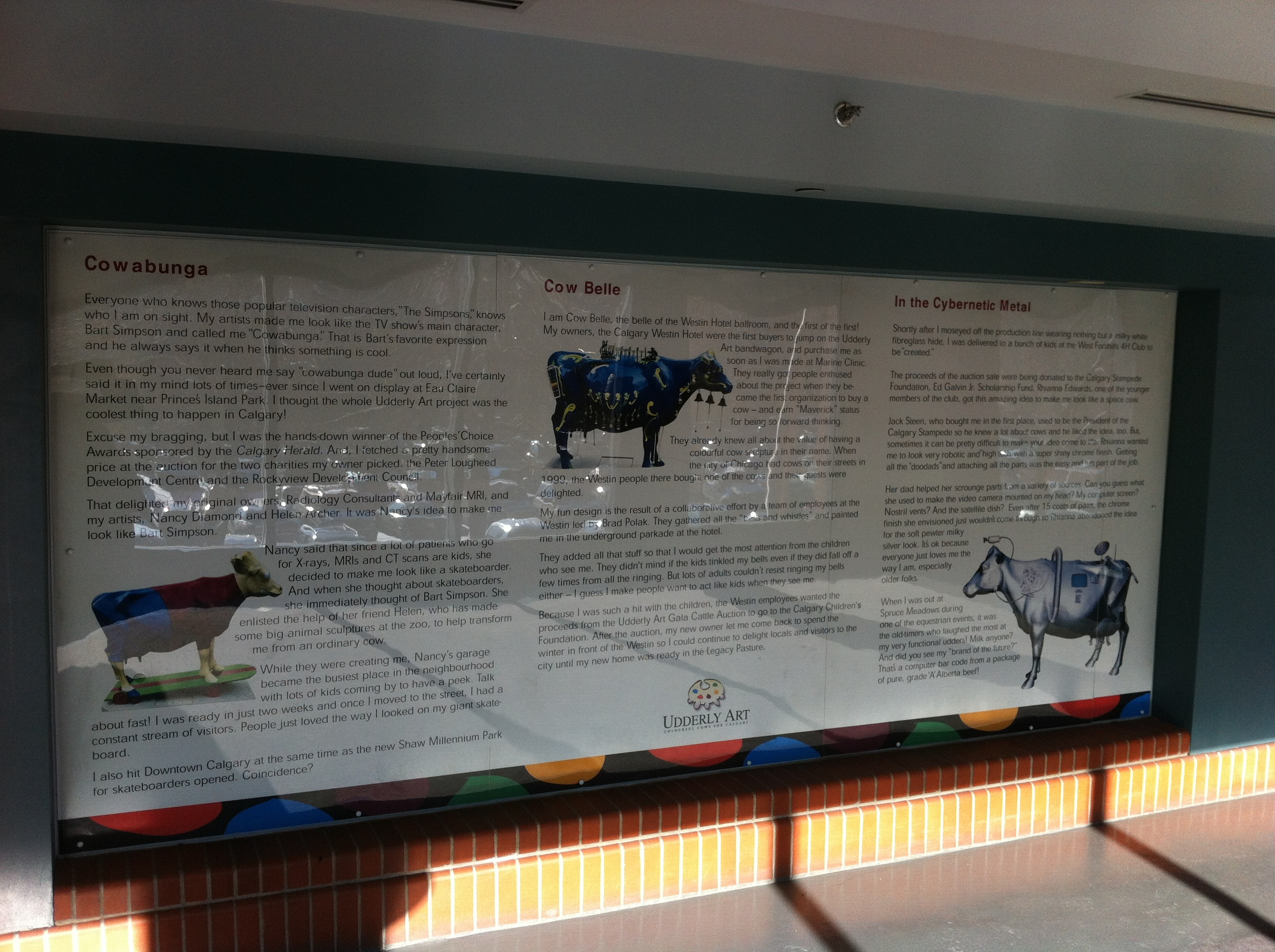 There are several huge information panels that explain the story behind some of the more popular bovine beauties.