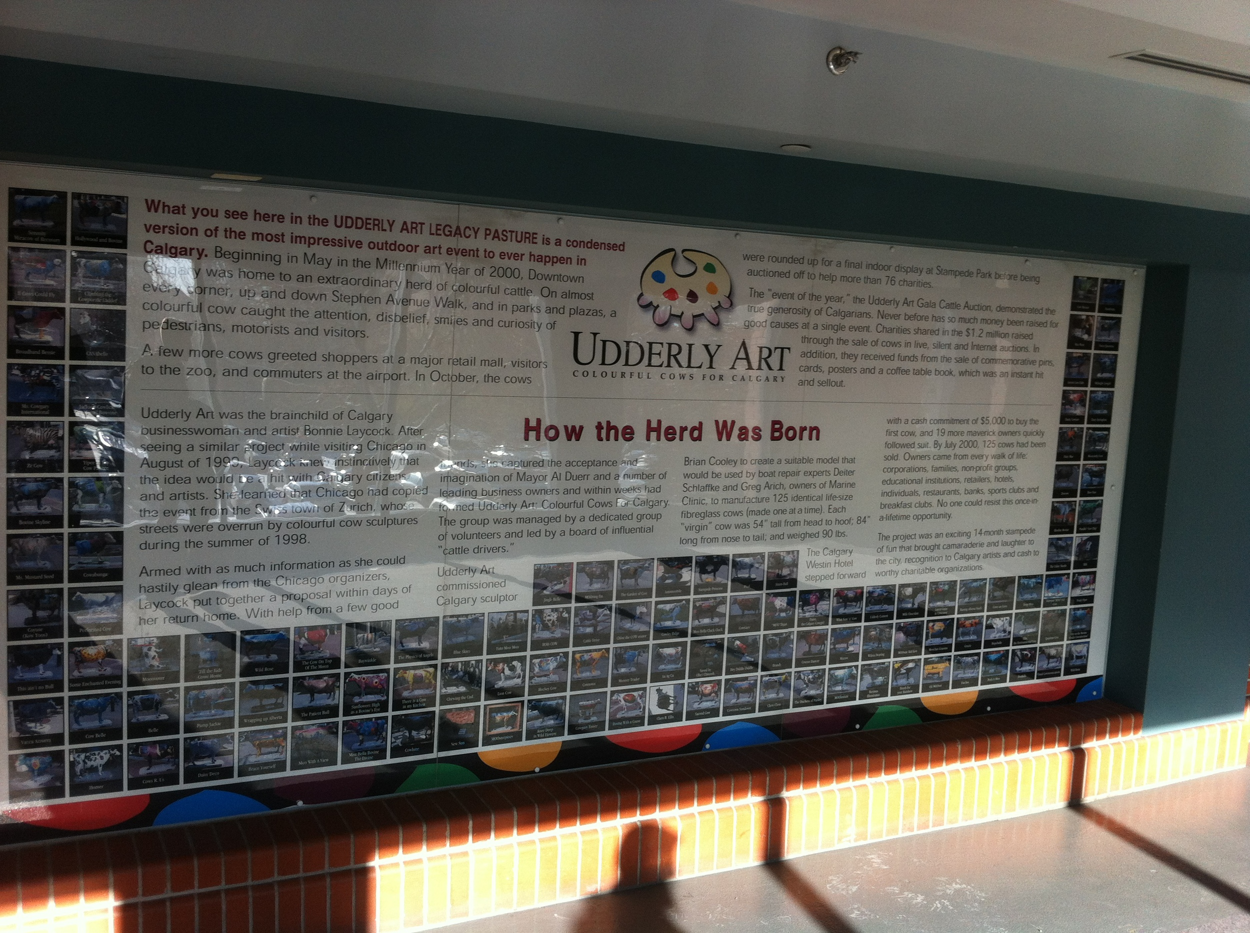 Another large information panel gives the history of the project and has a picture of each of the more that 100 cows commissioned for the project.
