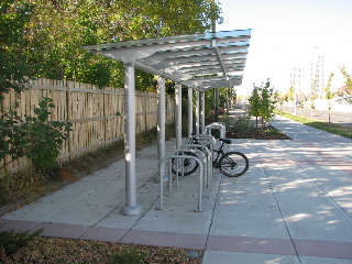How sweet is this? A covered bike rack at the Shaganappi Point LRT Station on Calgary's new West LRT line.Credit: David Peyto