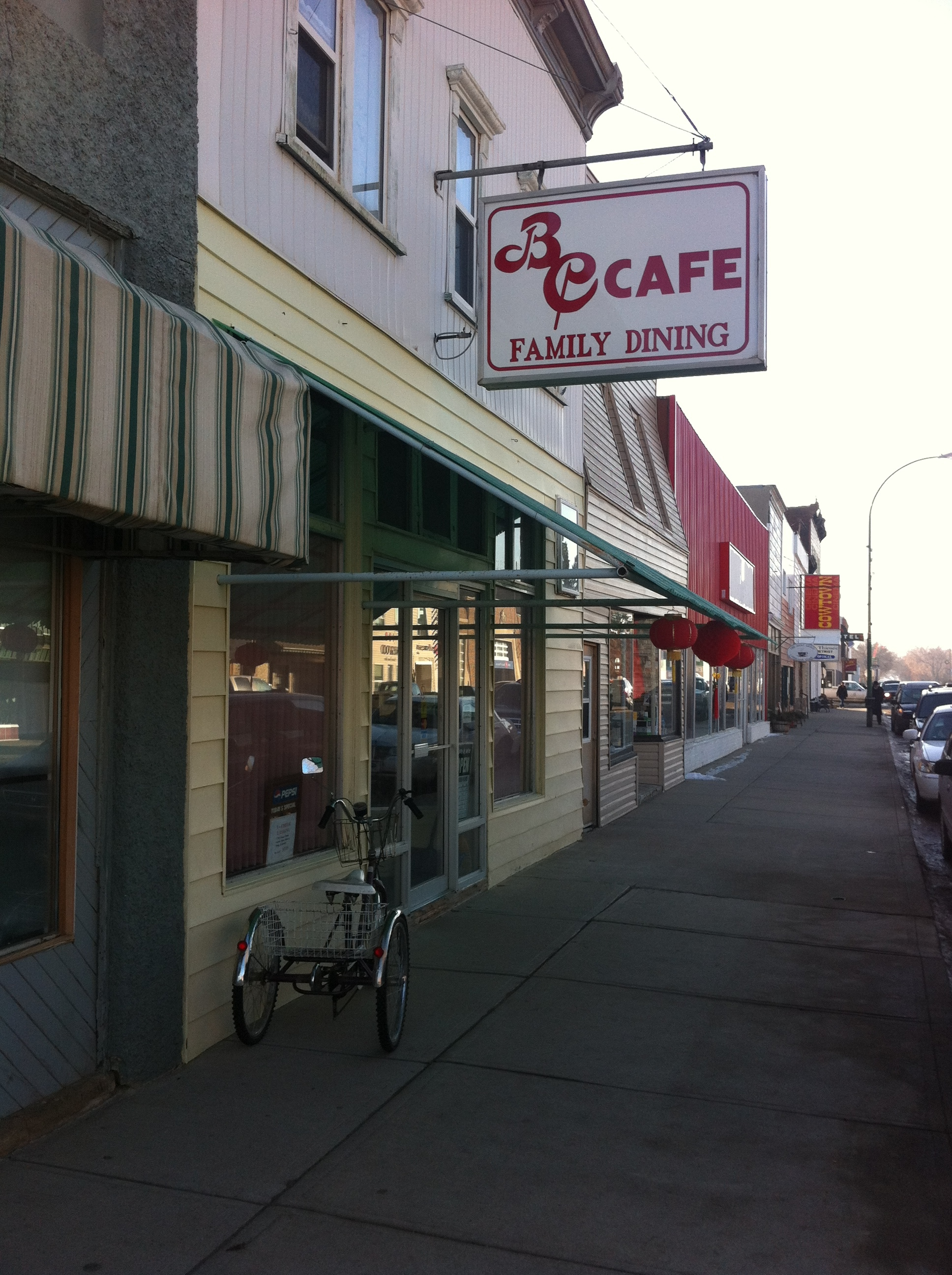 BC Cafe is the classic prairie restaurant - Chinese Western menu.  Definitely worth a try - grilled cheese and soup recommended.