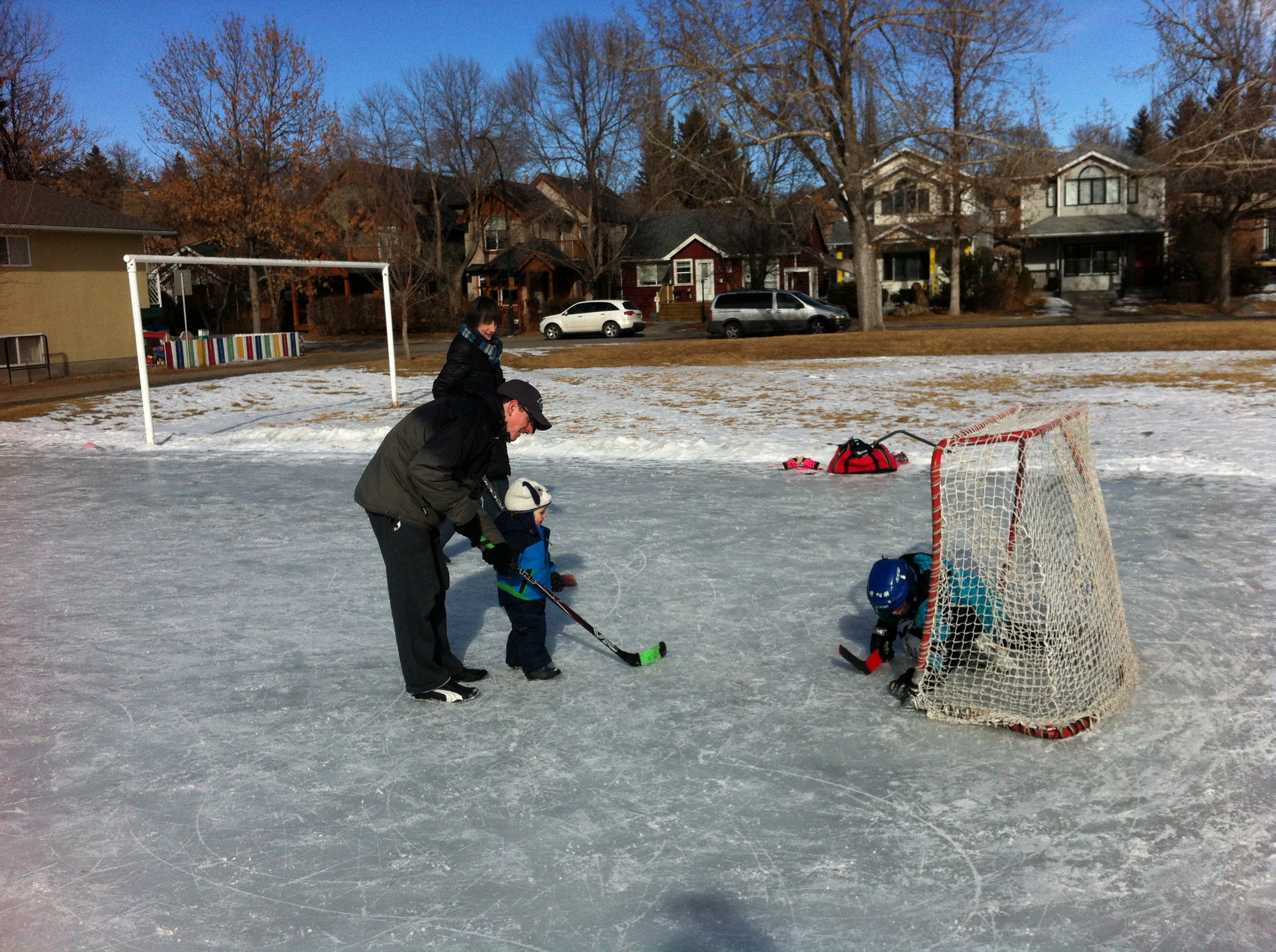 A local rink is used by thousands each winter to learn to skate and play hockey. Often they are next to summer playgrounds turning the space into year-round park.