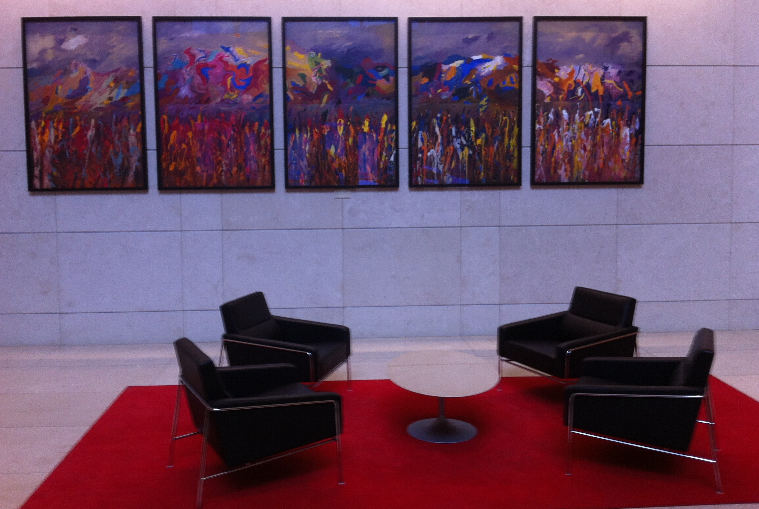 "As you enter from Stephen Avenue you are immediately welcomed by Jack Shadbolt's, ""Wild Grass Suite - Quintet"" (1979).  I love the fact that you can grab a coffee next door and sit and enjoy the art."