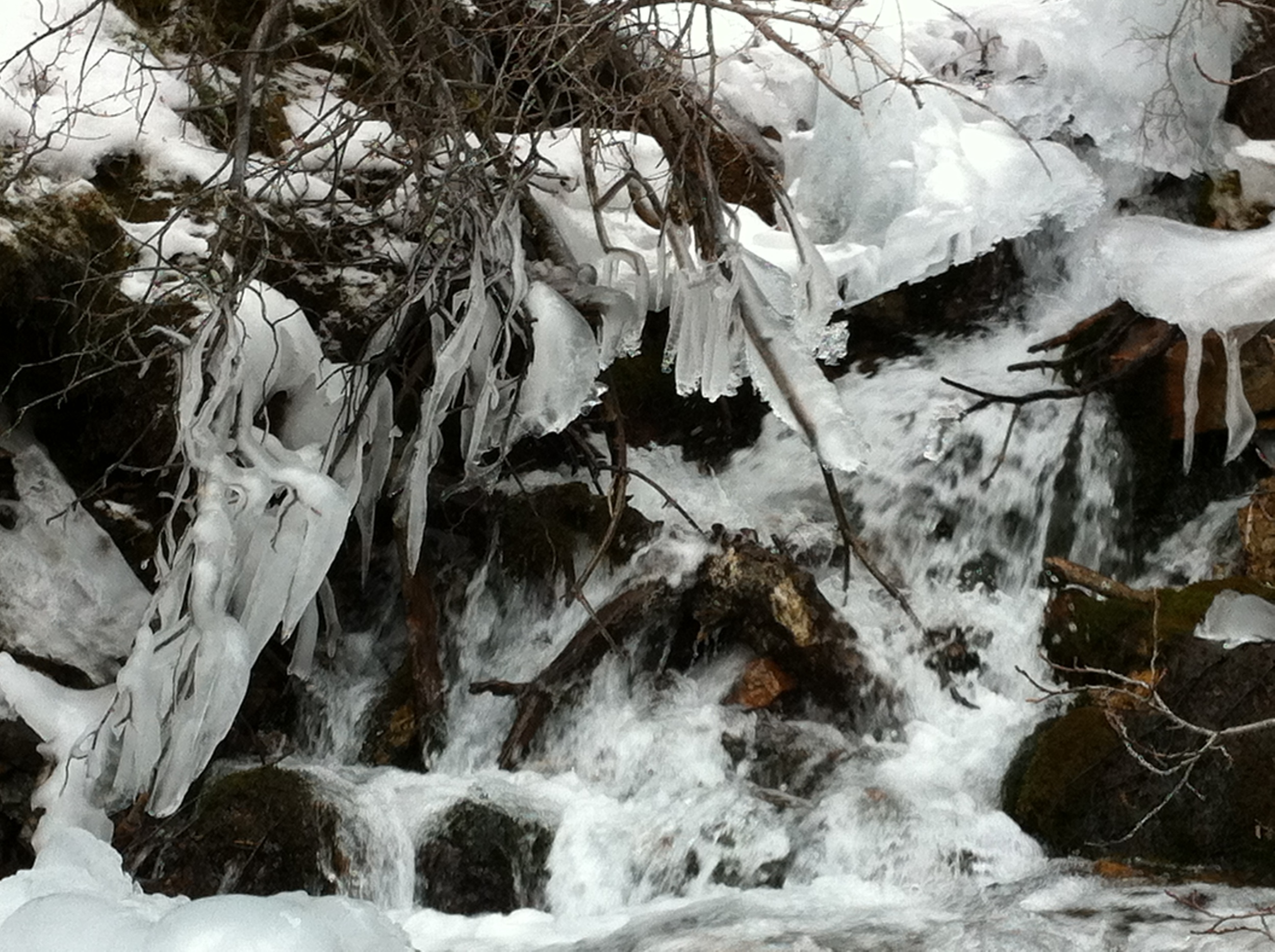 The ice formations were like abstract sculptures.