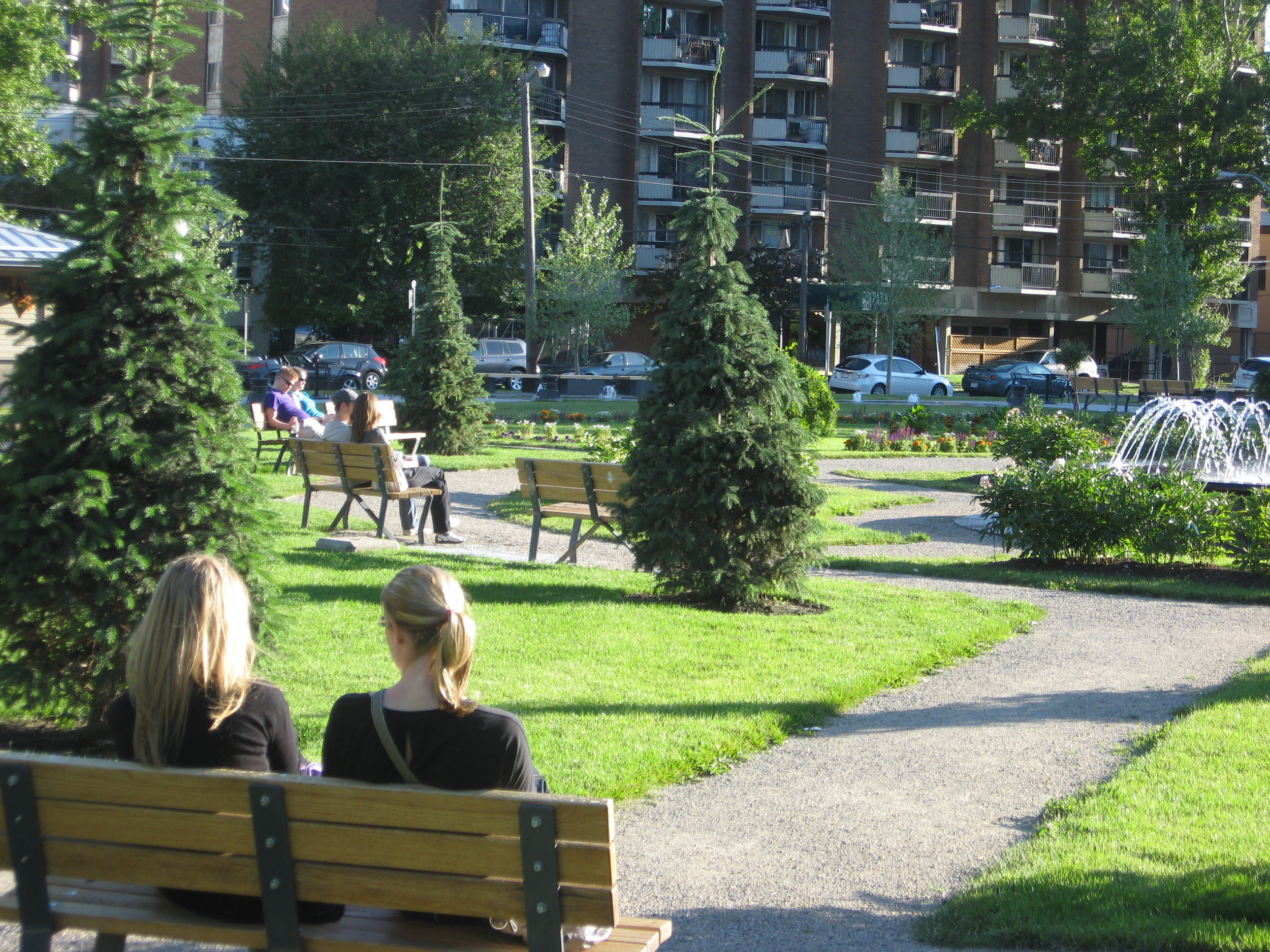 Memorial Park is a great example of an urban park that has be redesigned to encourage the public to sit and linger.