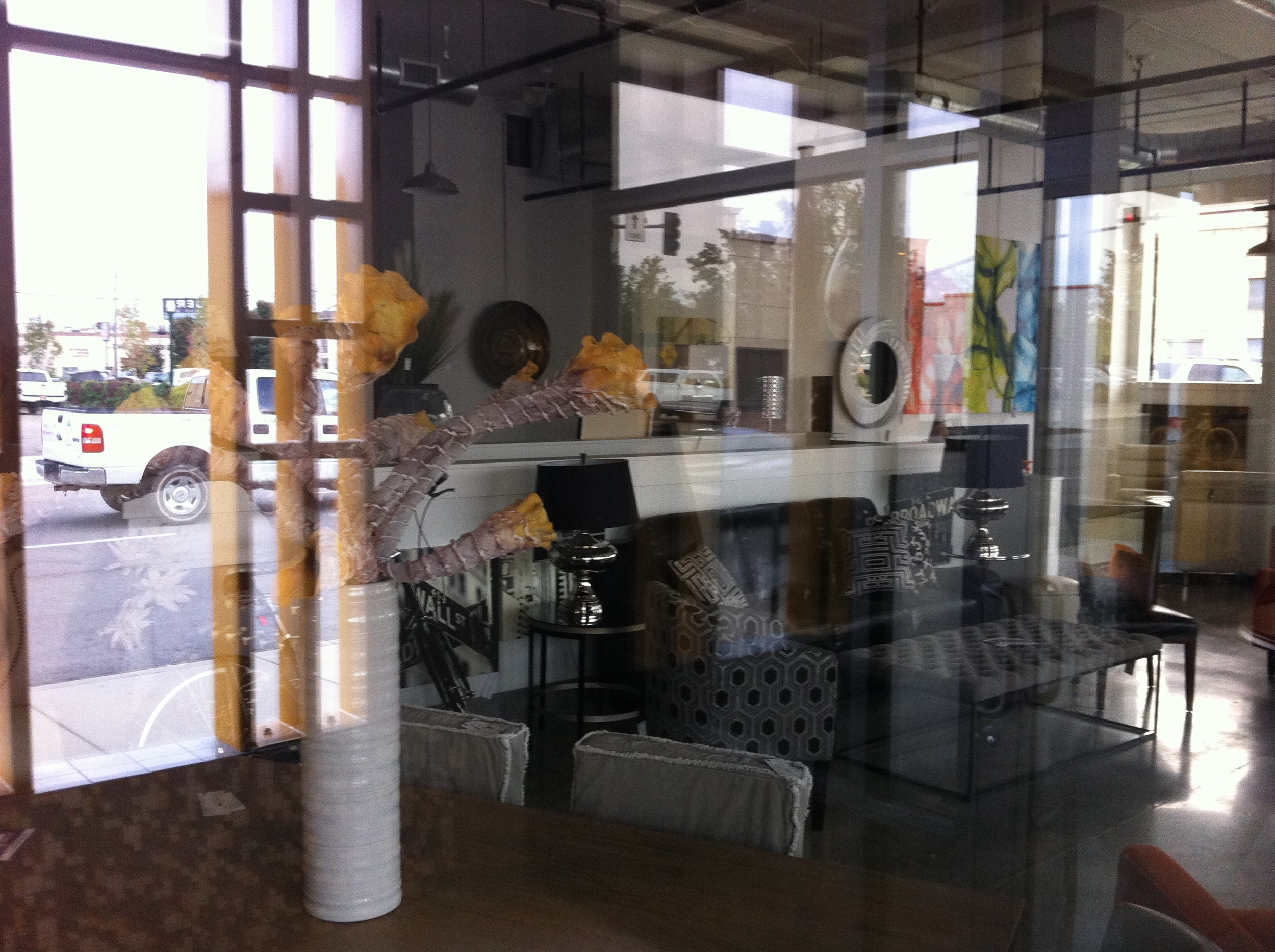 Window licking at Echelon an upscale furniture and home accessories store.