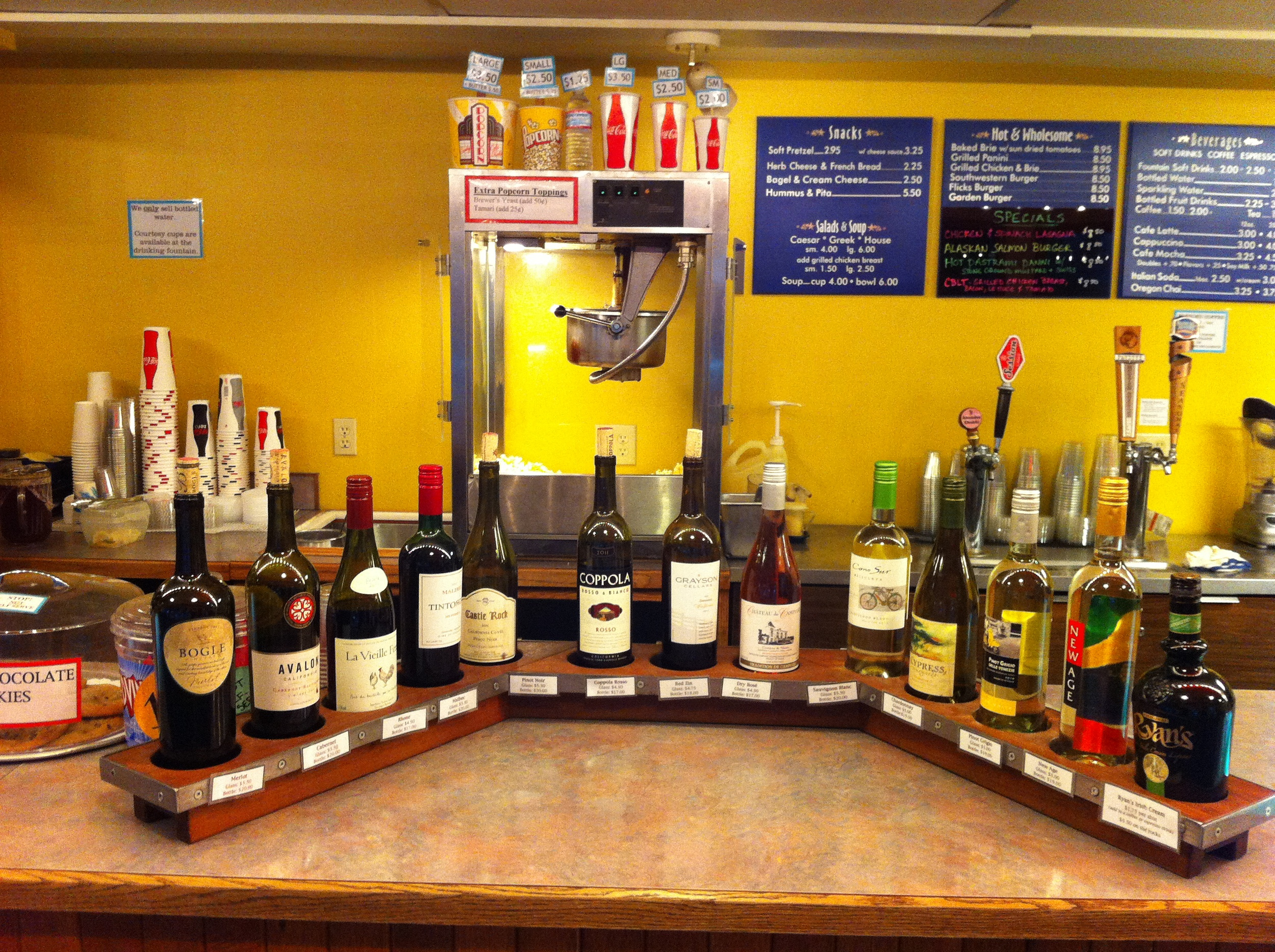 Wine by the glass, bottles of beer and note there is also draft beer.