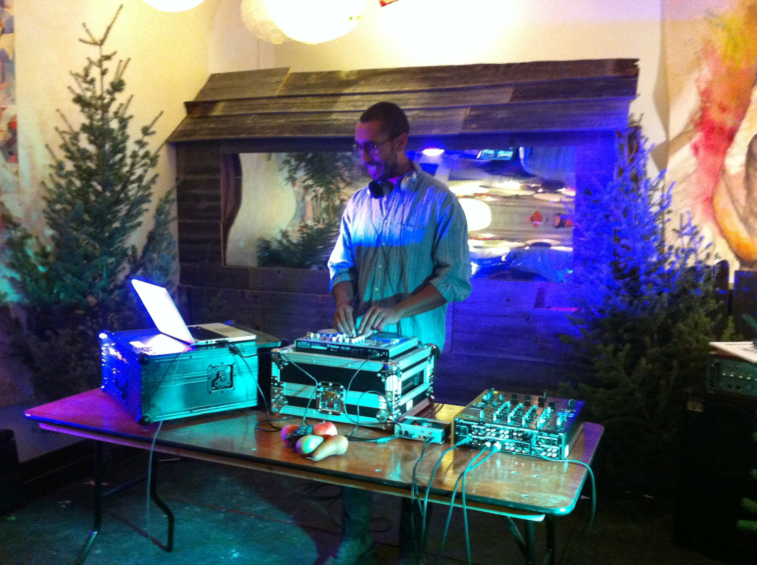 DJ cranks out the tunes