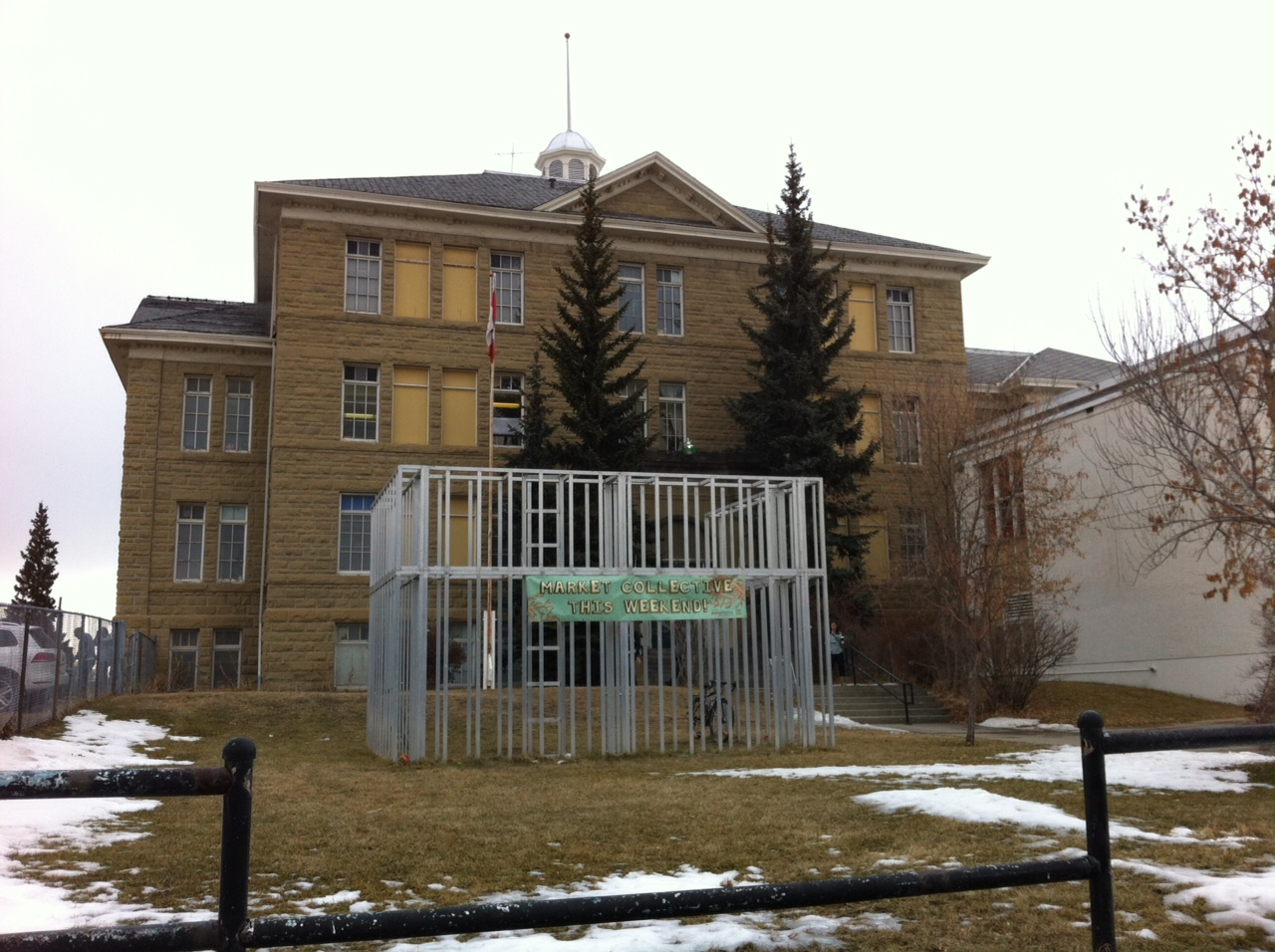 The King Edward School today with its grand entrance blocked by an art installation and the big box addition on the right side. The school sits on a high point in the middle of the block creating a sense of authority, a common characteristic of early 20th century schools. The schools were the dominant building in most new communities.