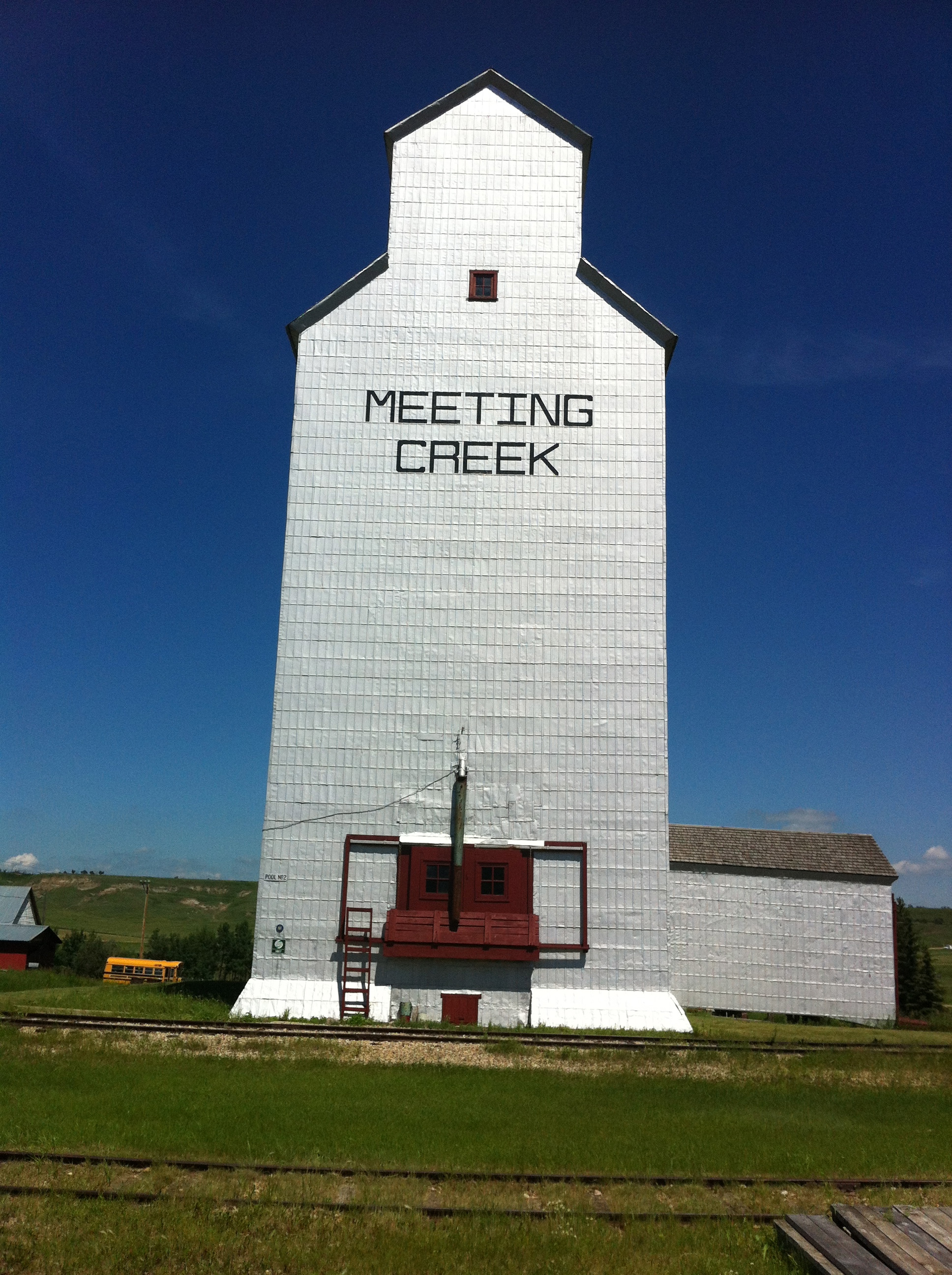 Meeting Creek, Alberta was our encounter with the great spirit of the prairie Grain Elevator.  It was surreal to just be able to explore this perfectly preserved elevator and station with nobody around.