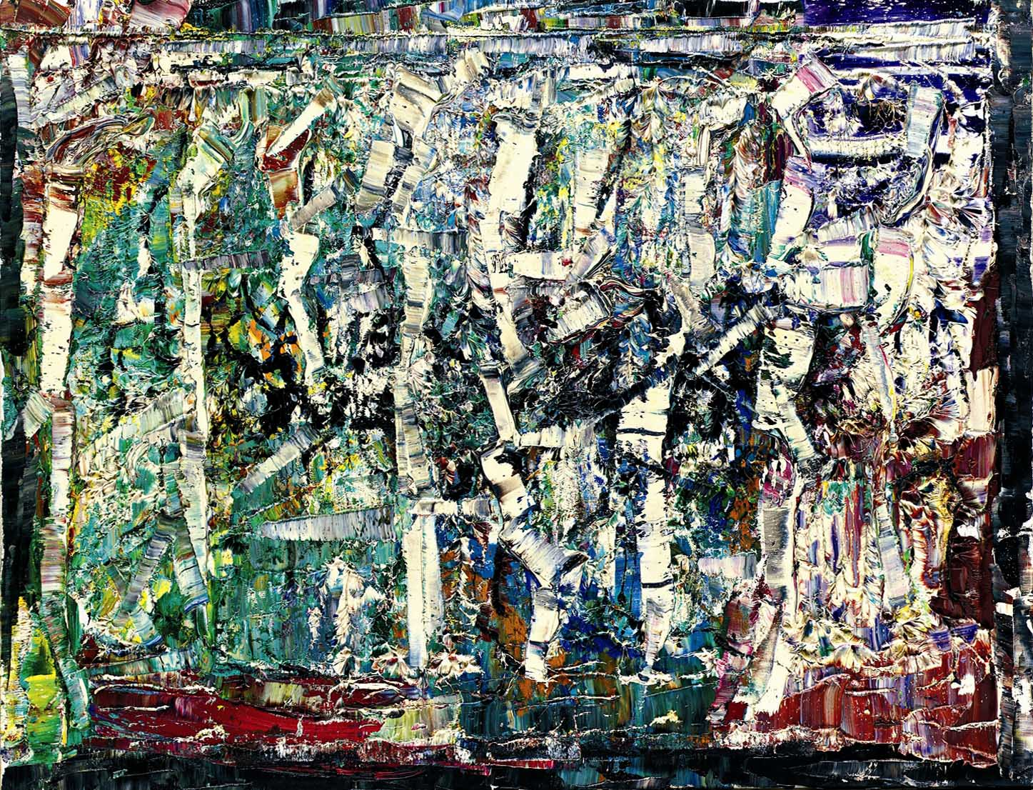 "Untitled, by Jean Paul Riopelle, oil on canvas, 35"" x 45.5"", 1975"
