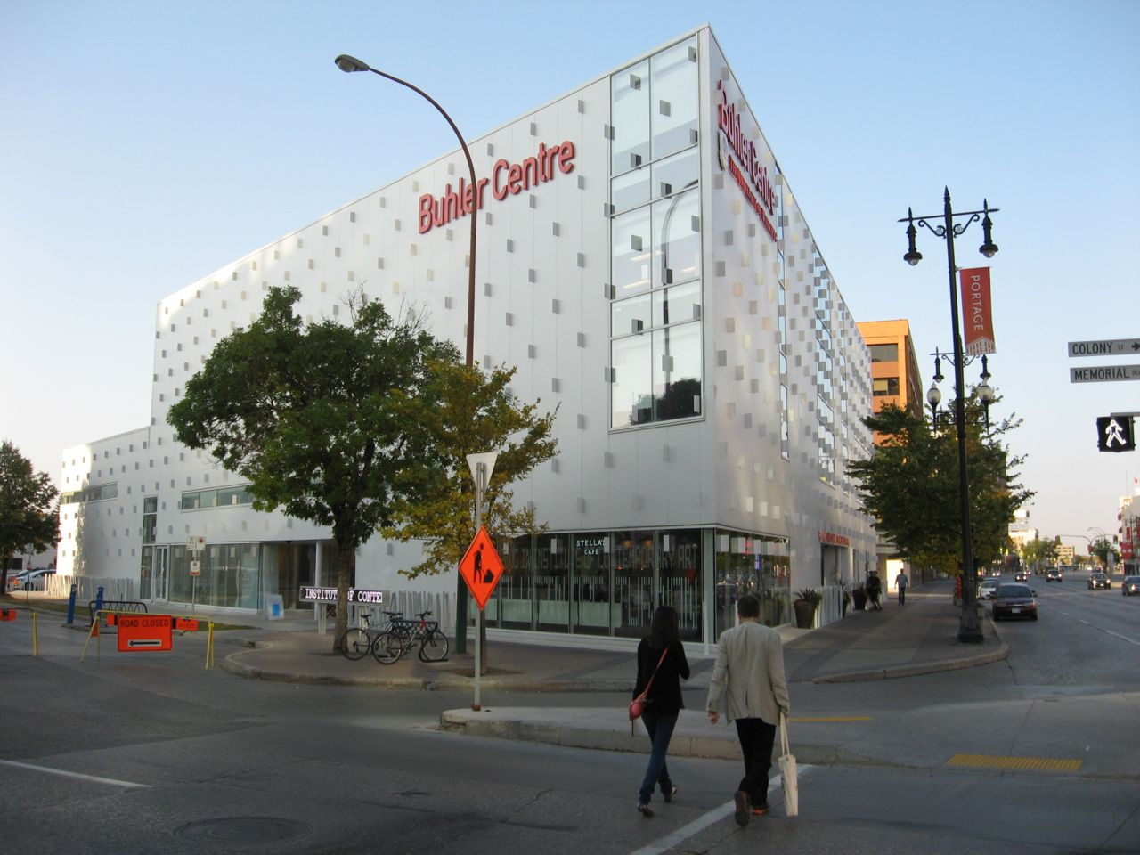 The Buhler Centre is just one of many new University of Winnipeg campus buildings that is changing the face of downtown Winnipeg.  This building is an office building, art gallery and home to Stella Cafe.