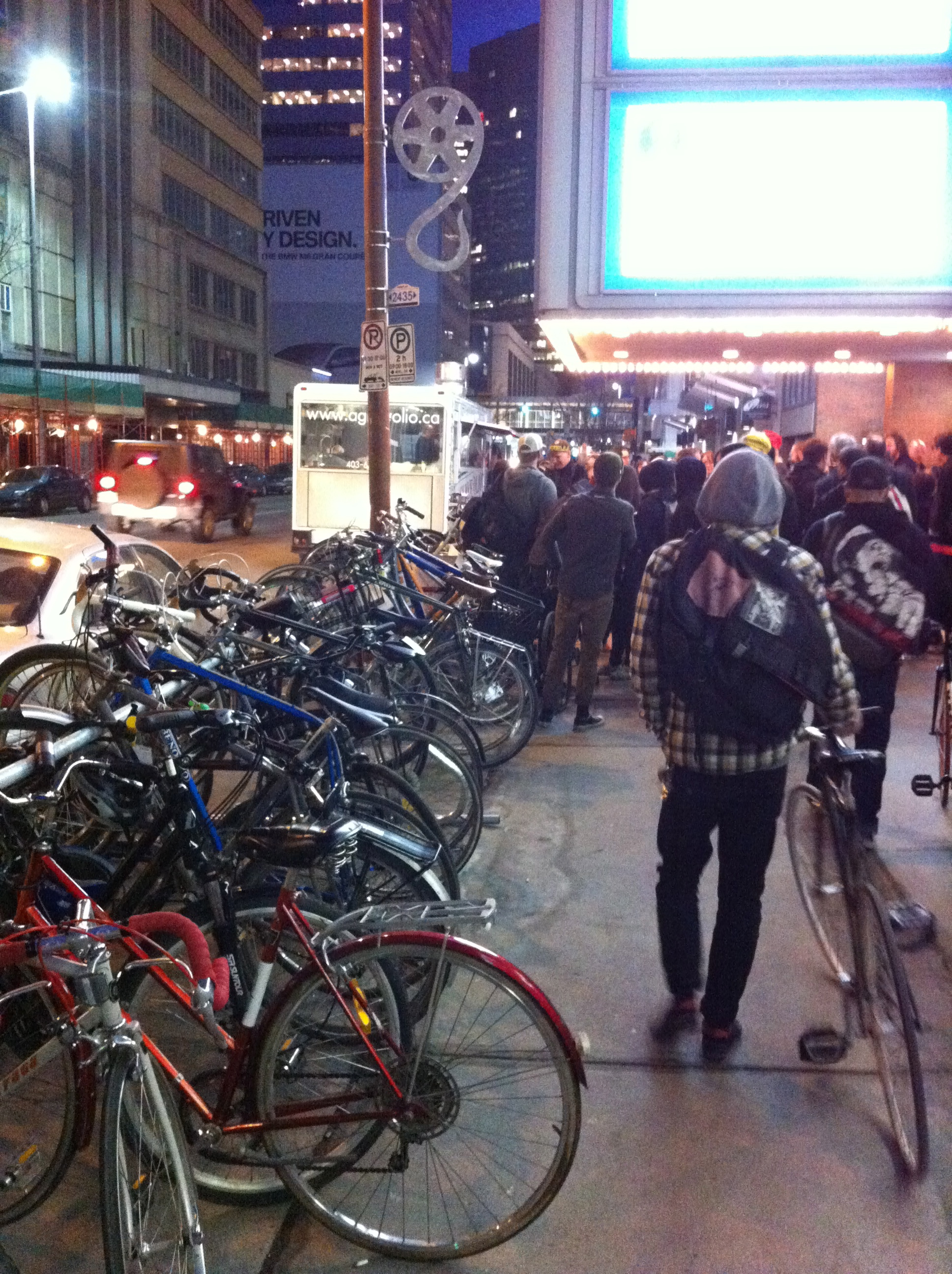 At last April's Calgary Underground Film Festival, many of the patrons came downtown on their bikes - even at night.