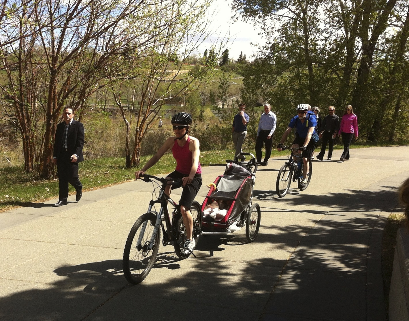 A weekday ride along the Bow River pathway downtown is fun for this family. We need to think about fostering recreational cycling as much as commuters.